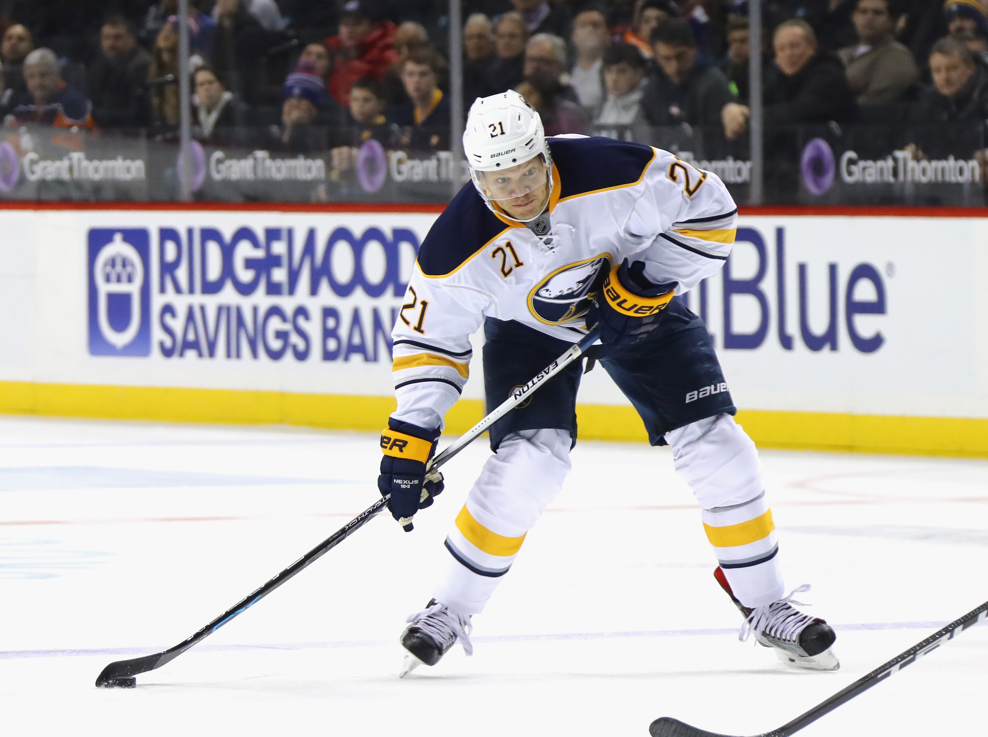 Sabres right wing Kyle Okposo says Thursday's game in Dallas is a must-win.  (Getty Images)