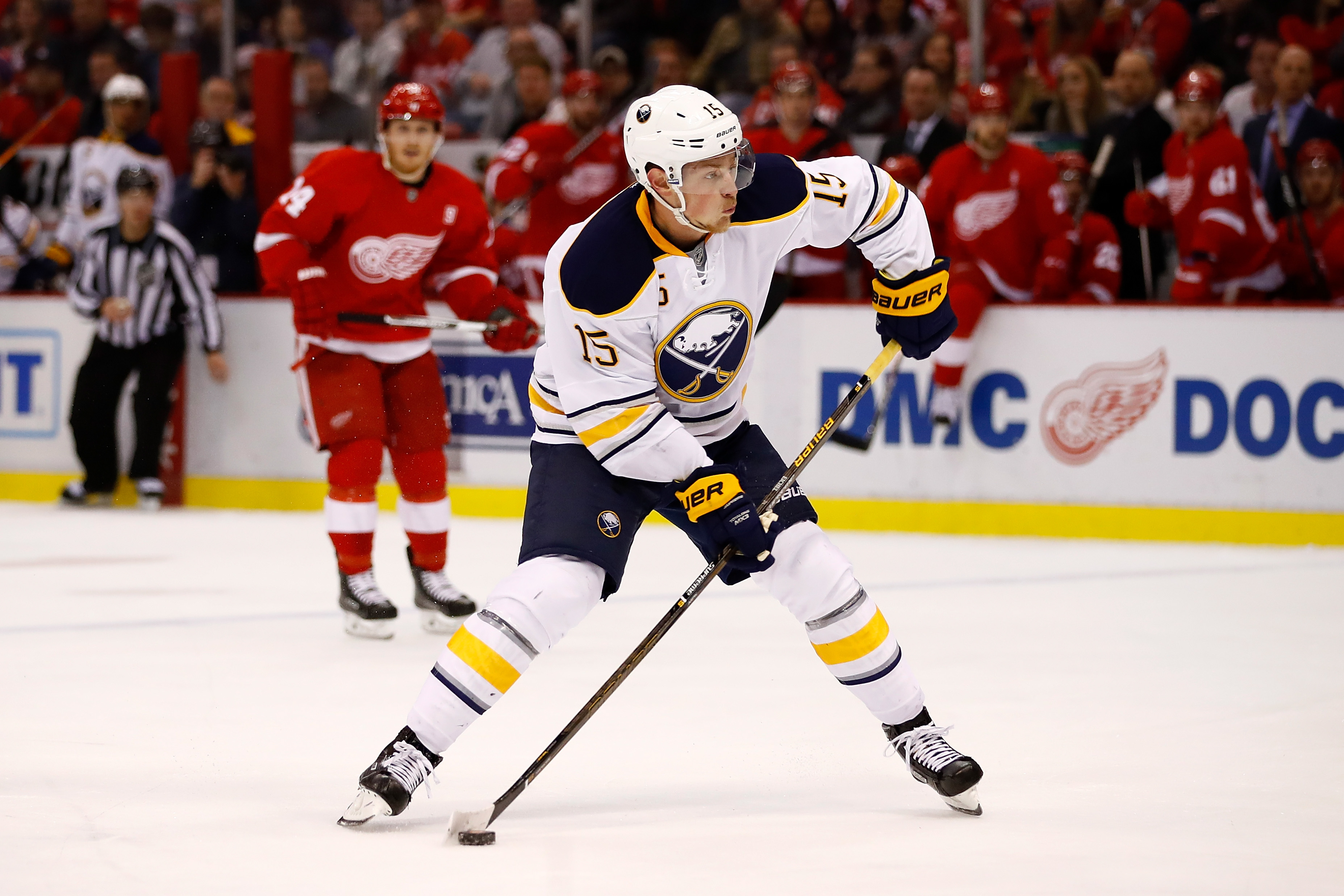 Jack Eichel says the Sabres can't blame their scoring problems on injuries. (Getty Images)