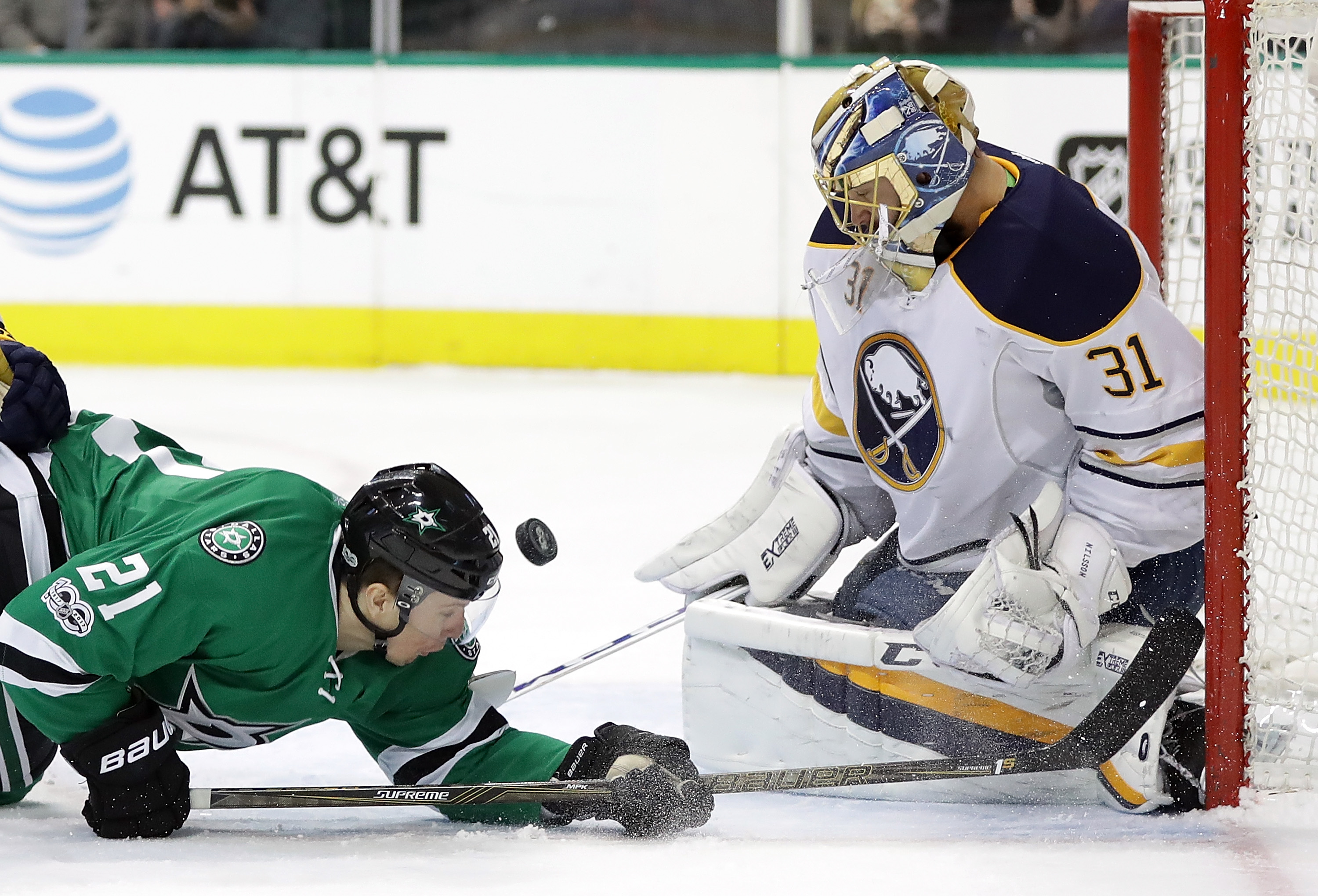 Dallas' Antoine Roussel can't beat Sabres goaltender Anders Nilsson on Thursday. (Getty Images)