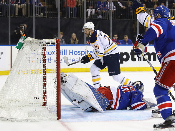 Zemgus Girgensons backhands home the game's first goal past Rangers goalie Henrik Lundqvist (Getty Images).
