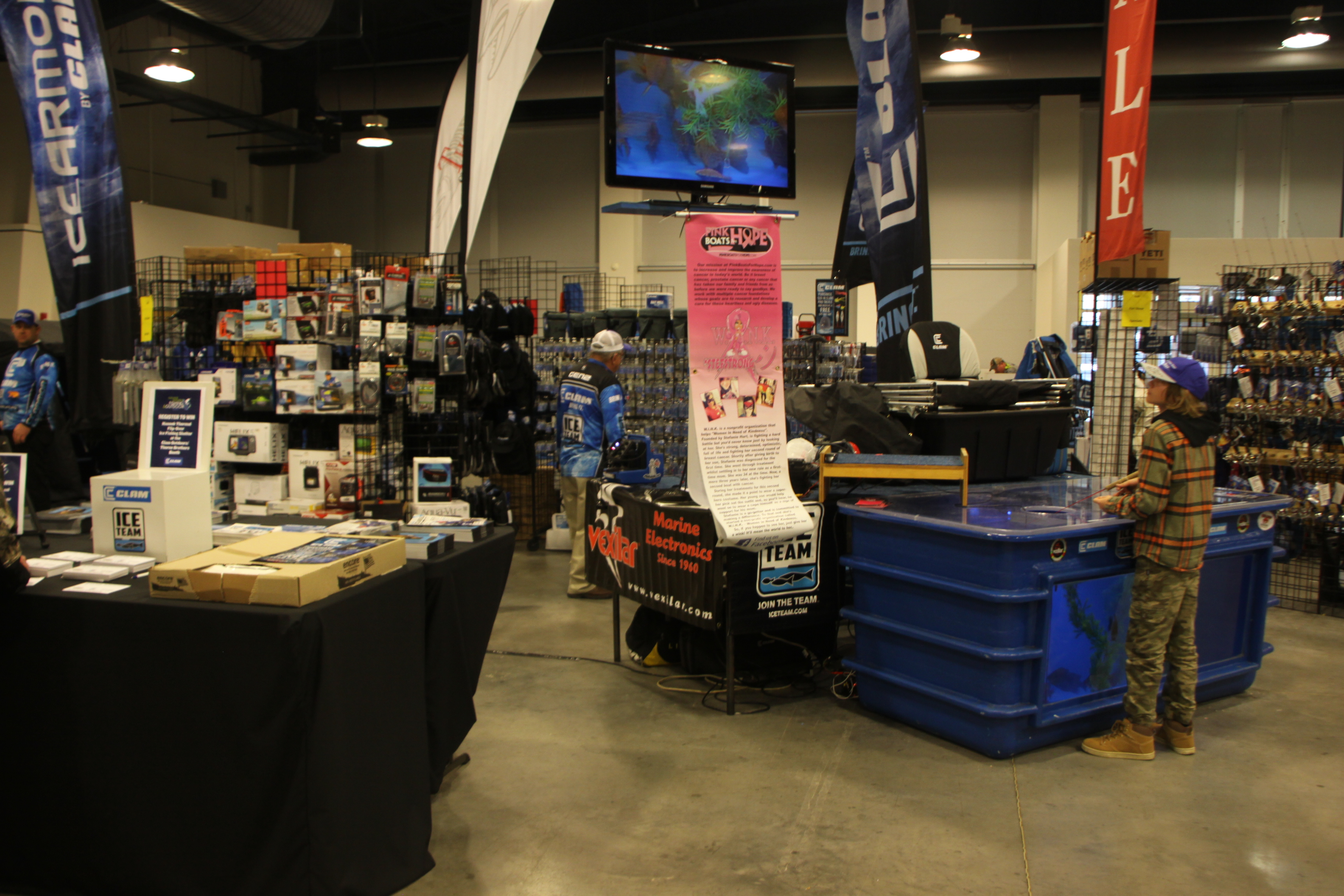 Clam Outdoors had an expnasive display on ice fishing during the Greater Niagara Fishing and Outdoors Expo.
