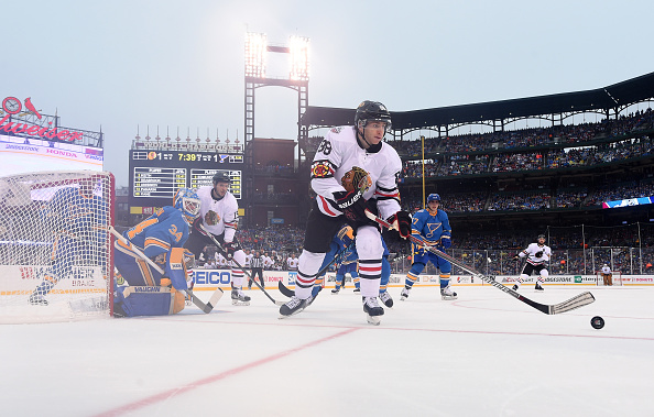 Patrick Kane works the puck during Monday's Winter Classic in St. Louis (Getty Images).