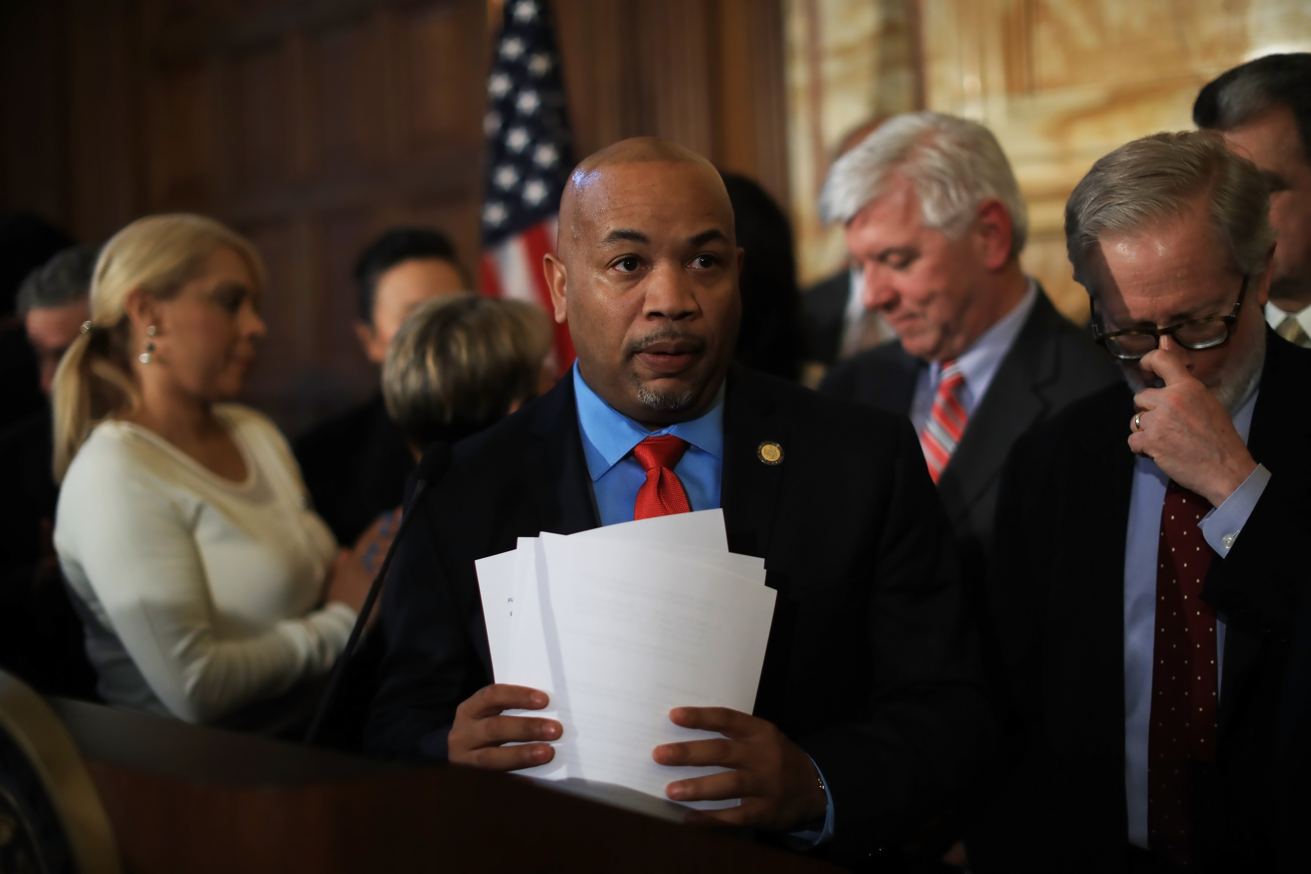 Assembly Speaker Carl Heastie speaks at a news conference about the Gov. Andrew CuomoÕs budget proposals, in Albany, N.Y., Jan. 17, 2017. (Nathaniel Brooks/The New York Times)