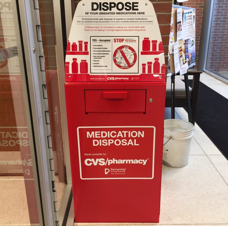 The drop-off box for prescription drugs is at the rear entrance of the Orchard Park Municipal Center. (Barbara O'Brien/Buffalo News)