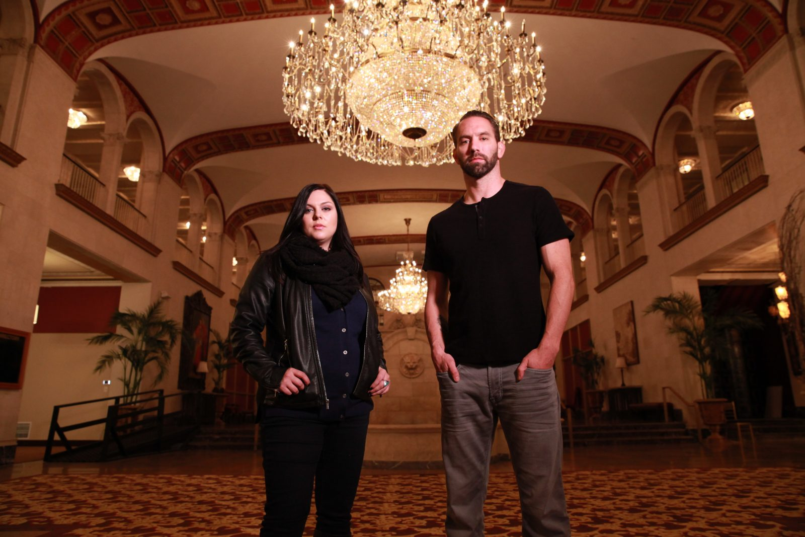 Hosts Katrina Weidman and Nick Groff stand in the lobby of Statler City. (Photo courtesy of TLC)