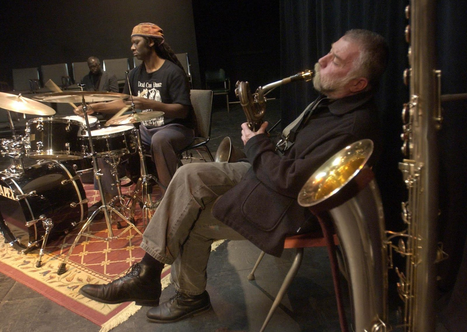 Saxophonist Peter Brotzmann and rummer Hamid Drake are pictured performing at Hallwalls Contemporary Arts Center in 2013. Hallwalls is one of many area cultural institutions to have benefited from NEA grants. (Derek Gee/Buffalo News file photo)