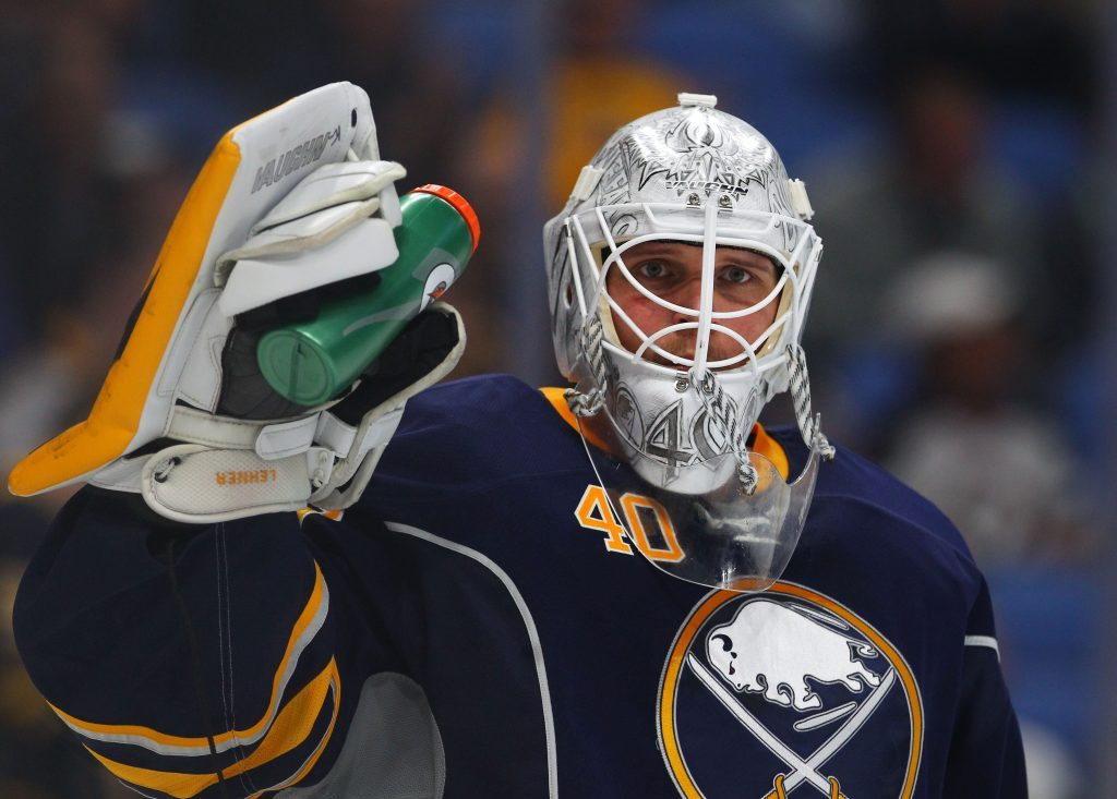 Robin Lehner made 36 saves, including a game-saver in OT (Mark Mulville/Buffalo News file photo).