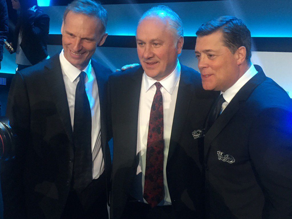 The ex-Sabres at the NHL100 celebration: Dominik Hasek, Gilbert Perreault, Pat LaFontaine (Mike Harrington/Buffalo News).