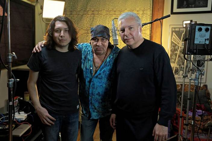 Tim Johnson, right, with Ryan Johnson of The Ollivanders, and actor and musician Steven Van Zandt.