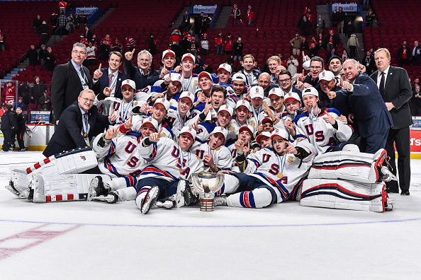 Team USA poses for its championship picture after winning the gold medal Thursday in Montreal (Getty Images).