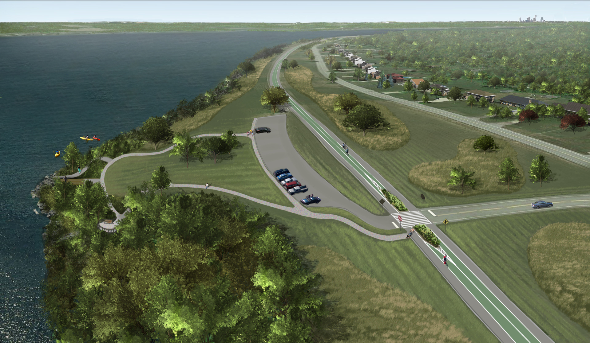 A rendering of what West River Parkway on Grand Island is expected to look like after New York State closes the road to vehicle traffic and converts it into an eight-mile long trail for bicyclists and pedestrians. (Courtesy New York State Office of Parks, Recreation and Historic Preservation)