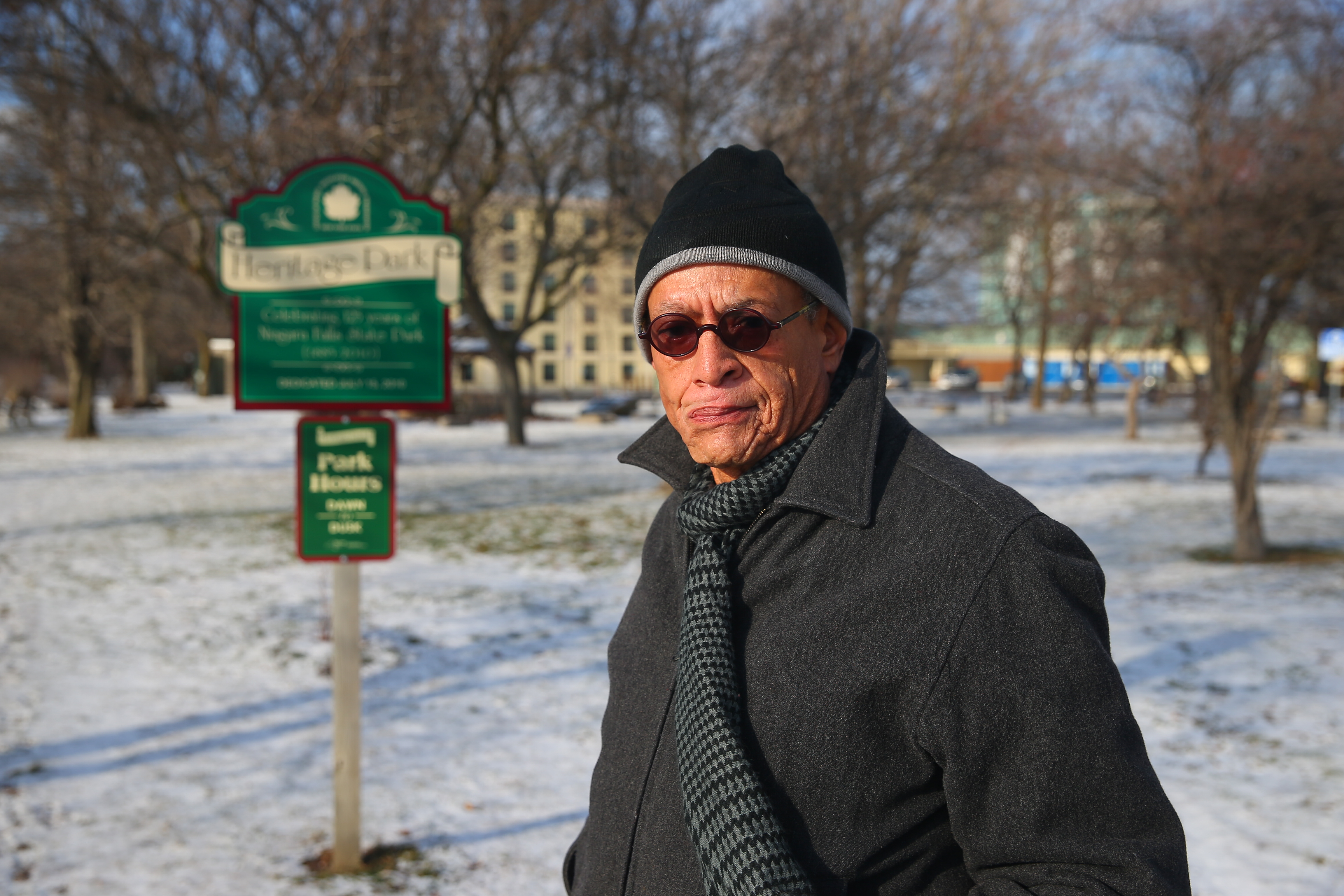 William Bradberry stands in Heritage Park at the site where the former Cataract House Hotel stood, on Monday,  Jan. 9, 2017 in Niagara Falls, N.Y.  (John Hickey/Buffalo News)