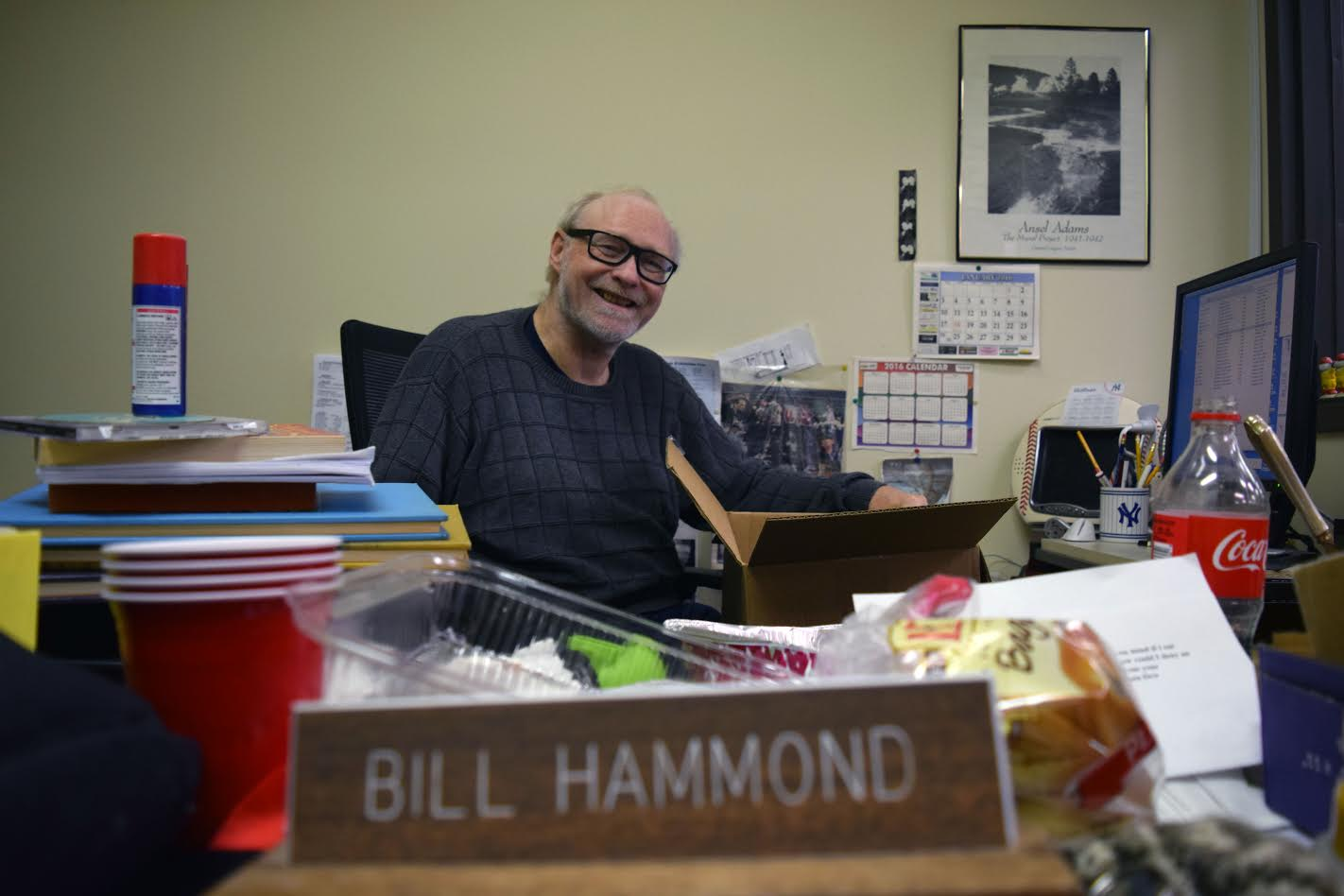 Bill Hammond, longtime news editor at the Dunkirk Observer, as he cleans out his desk Sunday. (Photo courtesy Erica Hammond Carlson)