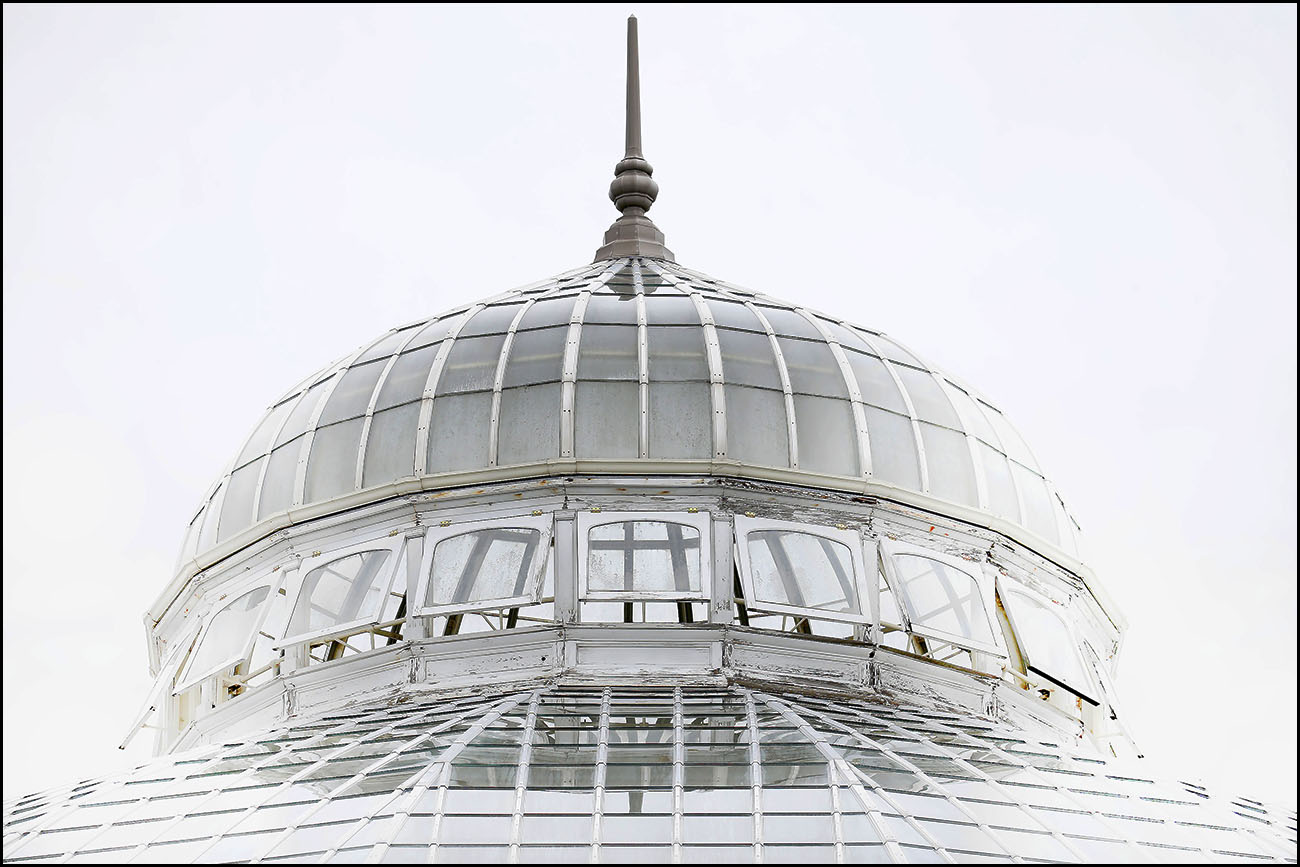 The exterior of the top of the main dome at the Buffalo Botanical Garrdens on South Park in Buffalo.
