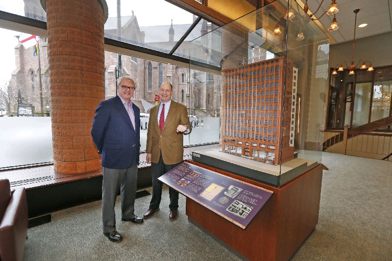 Terrence M. Gilbride, left, and Hugh M. Russ III, attorneys with Hodgson Russ law firm, in the new visitor exhibit in the lobby of the Guaranty Building. Visitors can learn all about one of Buffalo's most spectacular buildings. (Robert Kirkham/Buffalo News)