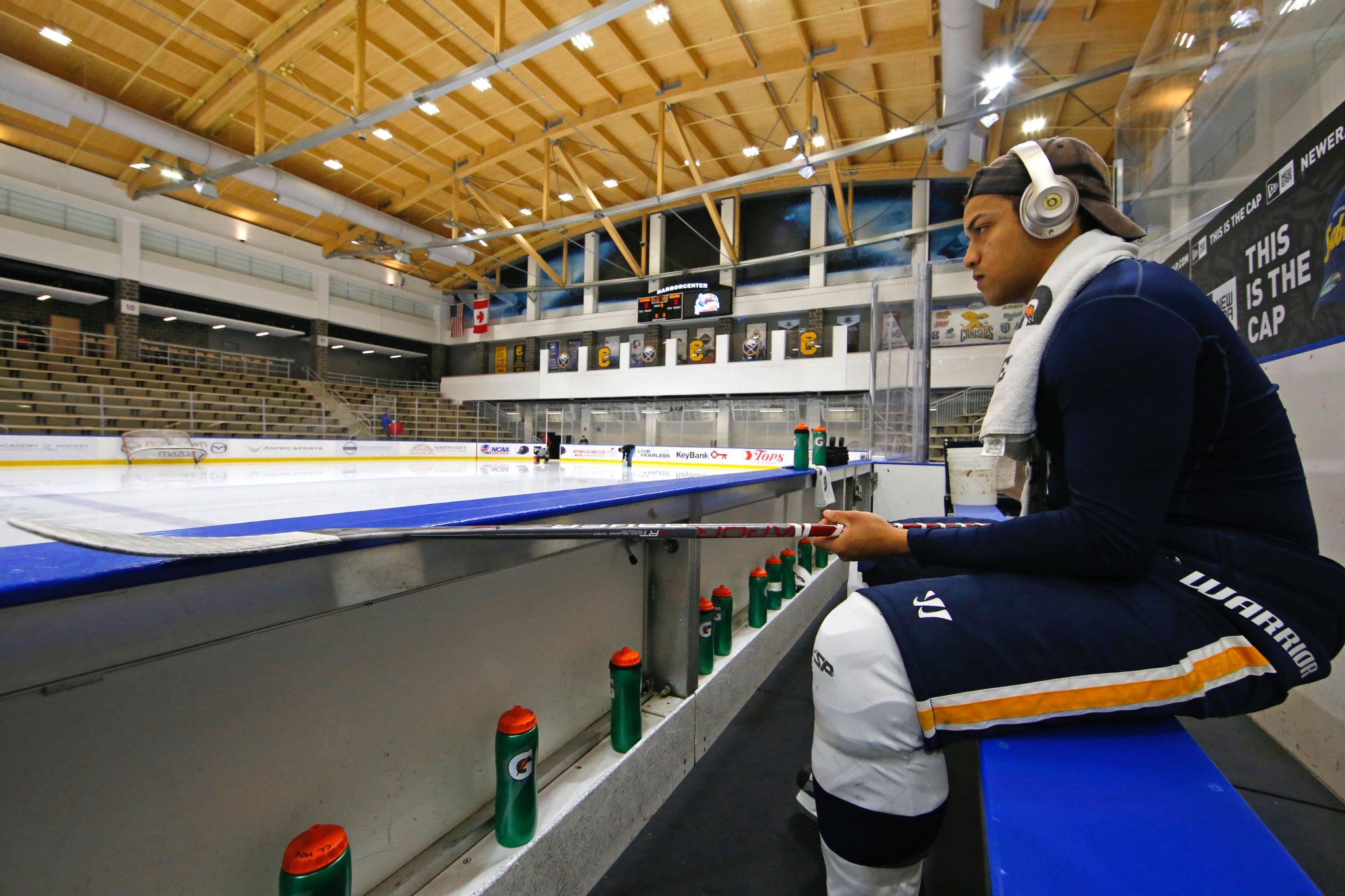 Canisius defenseman Cameron Heath prepares for the game with Niagara (Harry Scull Jr./Buffalo News)