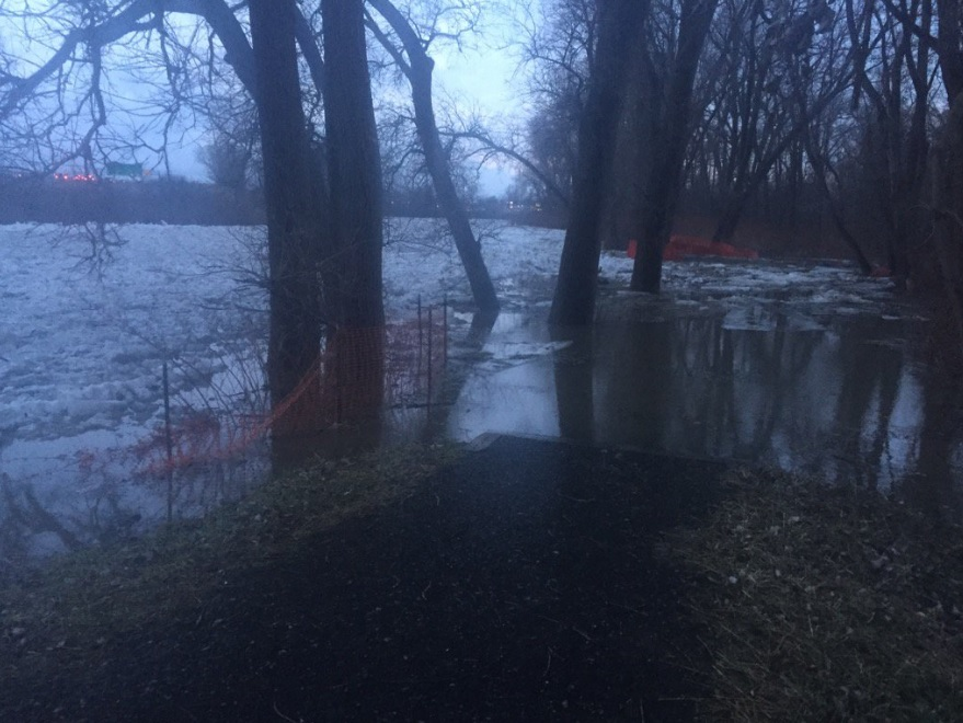 Water levels were rising Thursday morning in the Buffalo River in West Seneca. (John Hickey/Buffalo News)