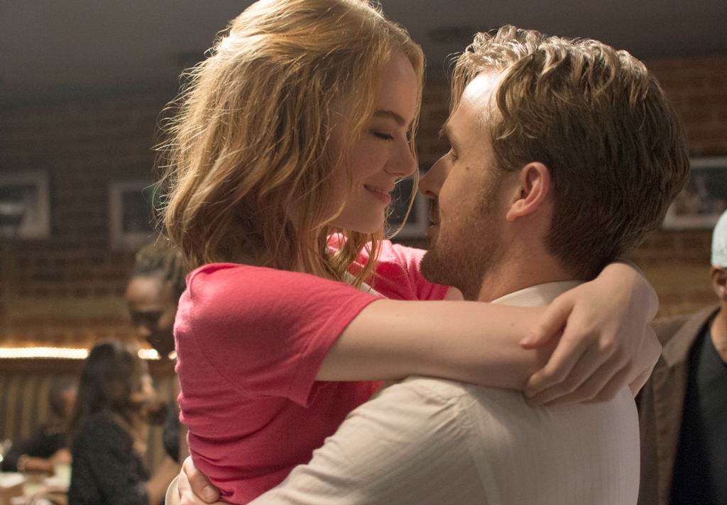 "Emma Stone and Ryan Gosling fall in love in the musical film ""La La Land."""