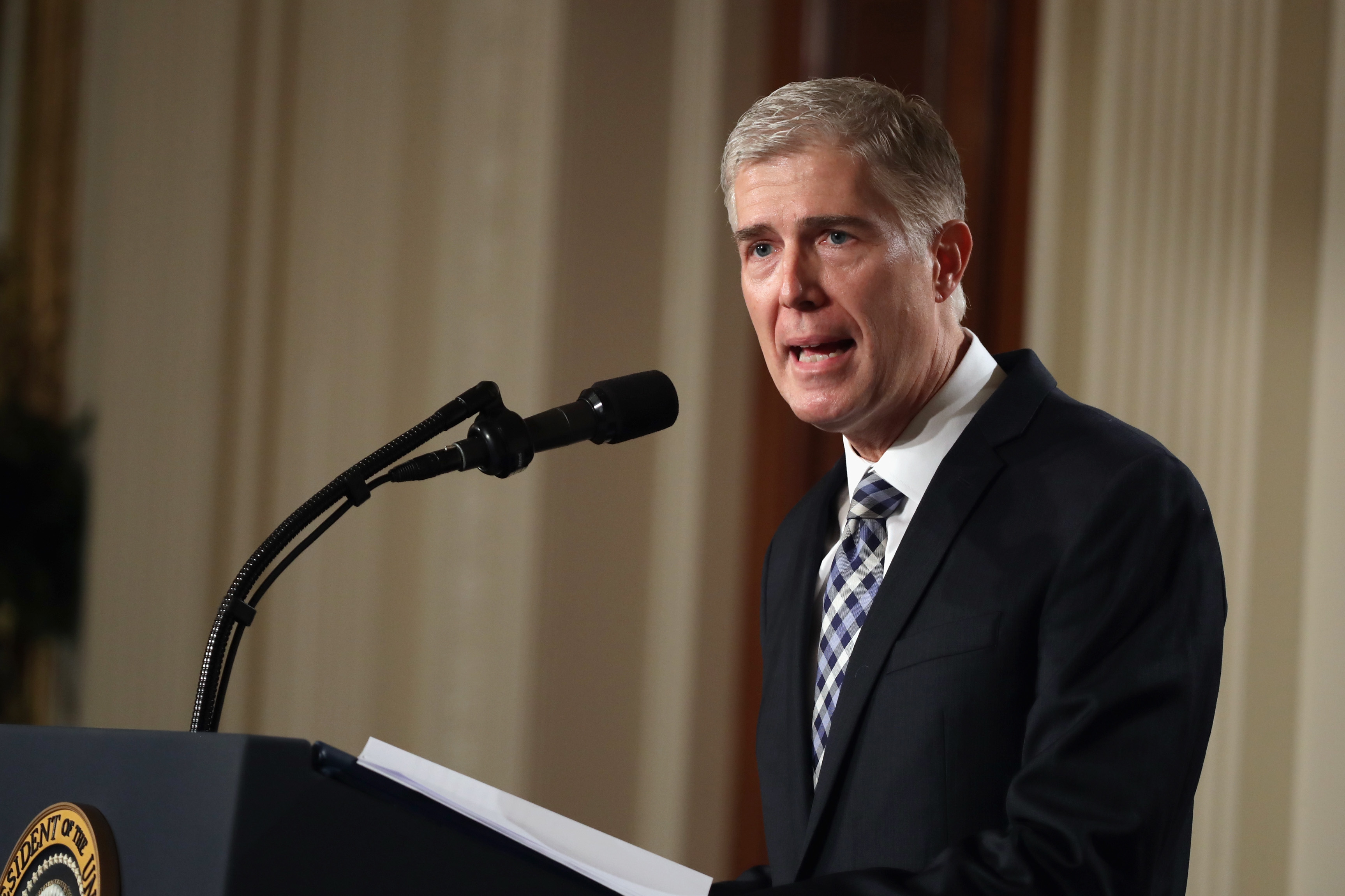 Judge Neil Gorsuch delivers brief remarks after being nominated by President Trump to the Supreme Court on Tuesday. (Getty Images)