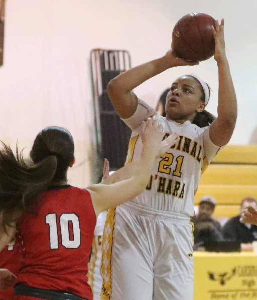 Kiara Johnson and her Cardinal O'Hara team remains the top-ranked squad in girls basketball among large schools. (James P. McCoy / Buffalo News)