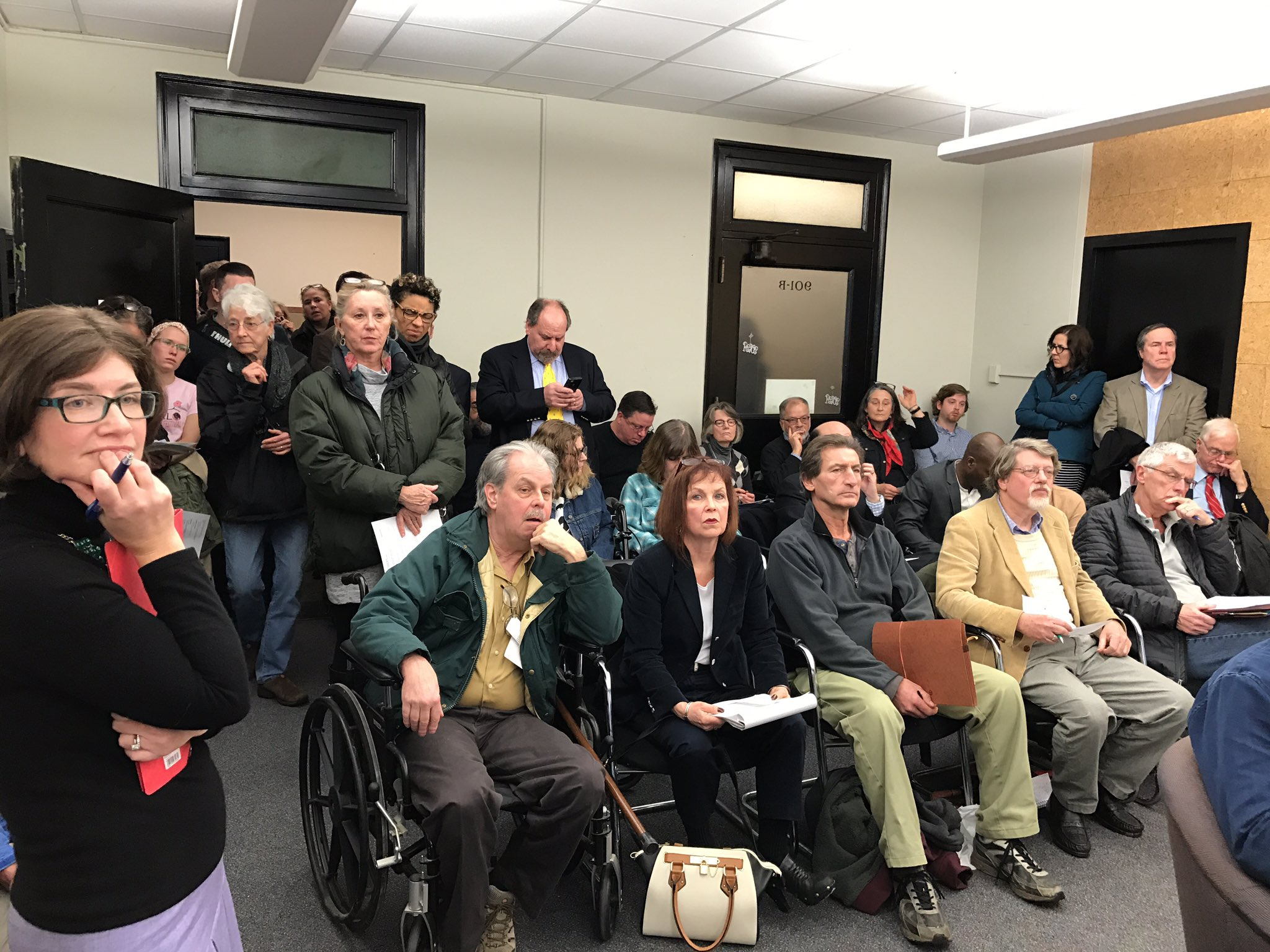 An overflow crowd at the Buffalo Preservation Board meeting got heated during the discussion. (Mark Sommer/Buffalo News)
