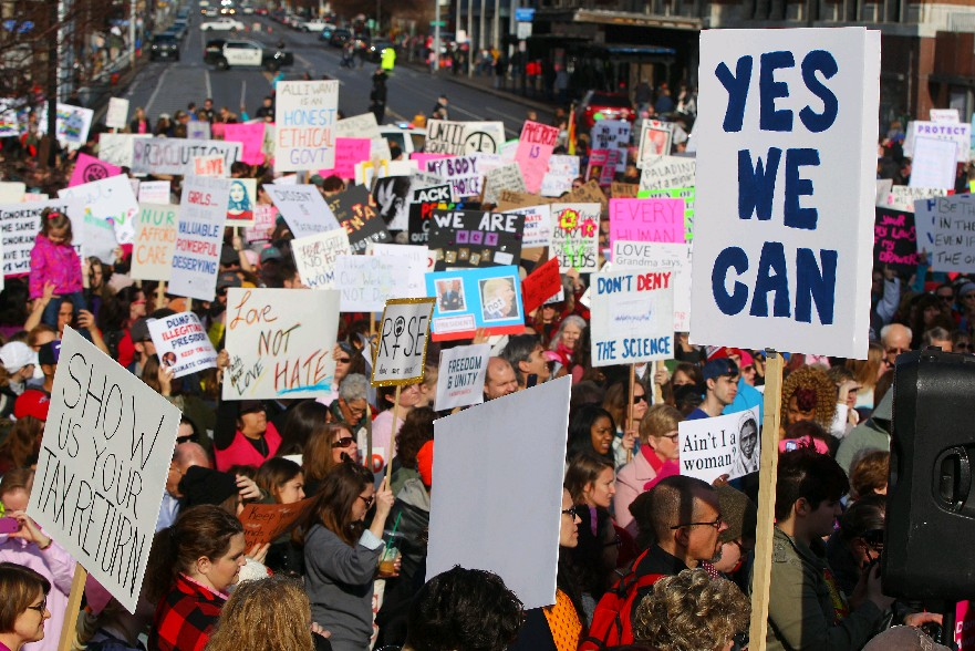 The Jan. 21 women's rally in Niagara Square (Mark Mulville/Buffalo News)