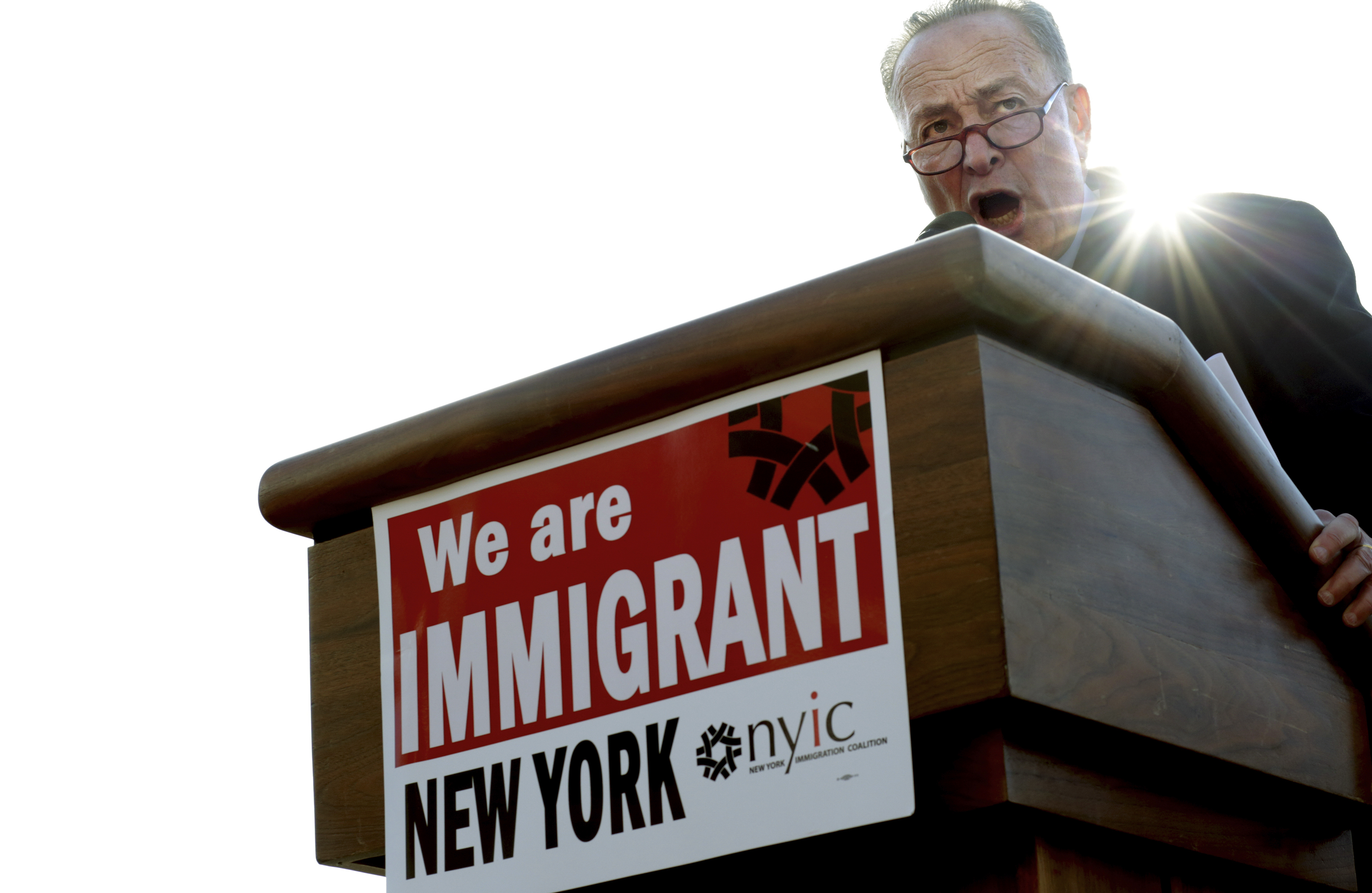 Senate Minority Leader Chuck Schumer speaks at a rally protesting President Donald Trump's immigration ban on nationals from seven predominantly Muslim countries, at Battery Park in New York, Jan. 29, 2017. (Yana Paskova/The New York Times)