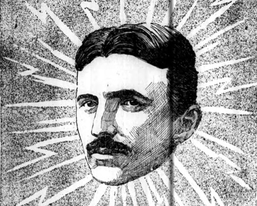 An illustration of Nikola Tesla from the Buffalo Courier in 1897.