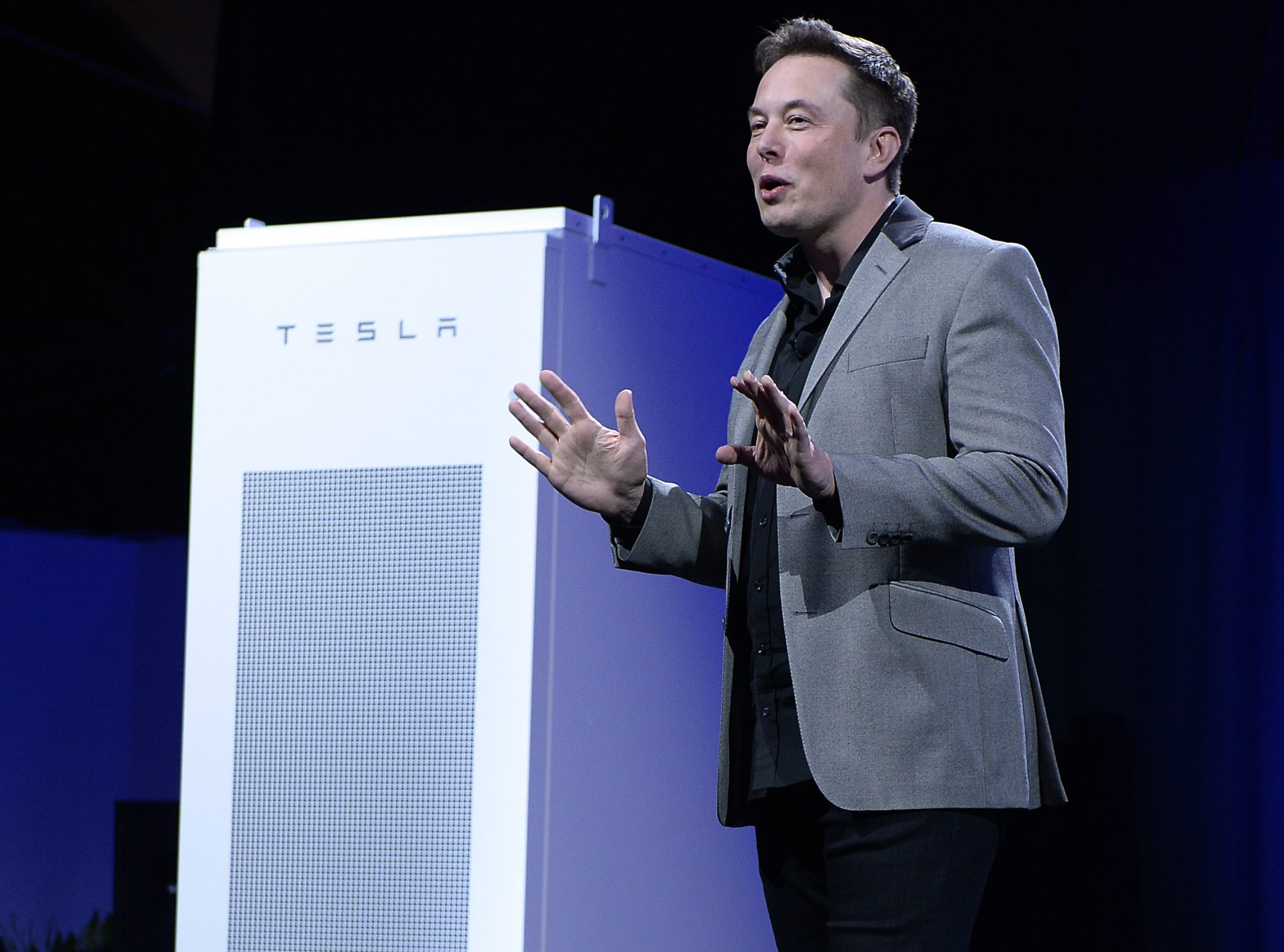 Elon Musk, CEO of Tesla Motors, unveils a lineup of batteries for homes, businesses and utilities in California in April 2015. (Kevork Djansezian/Getty Images)