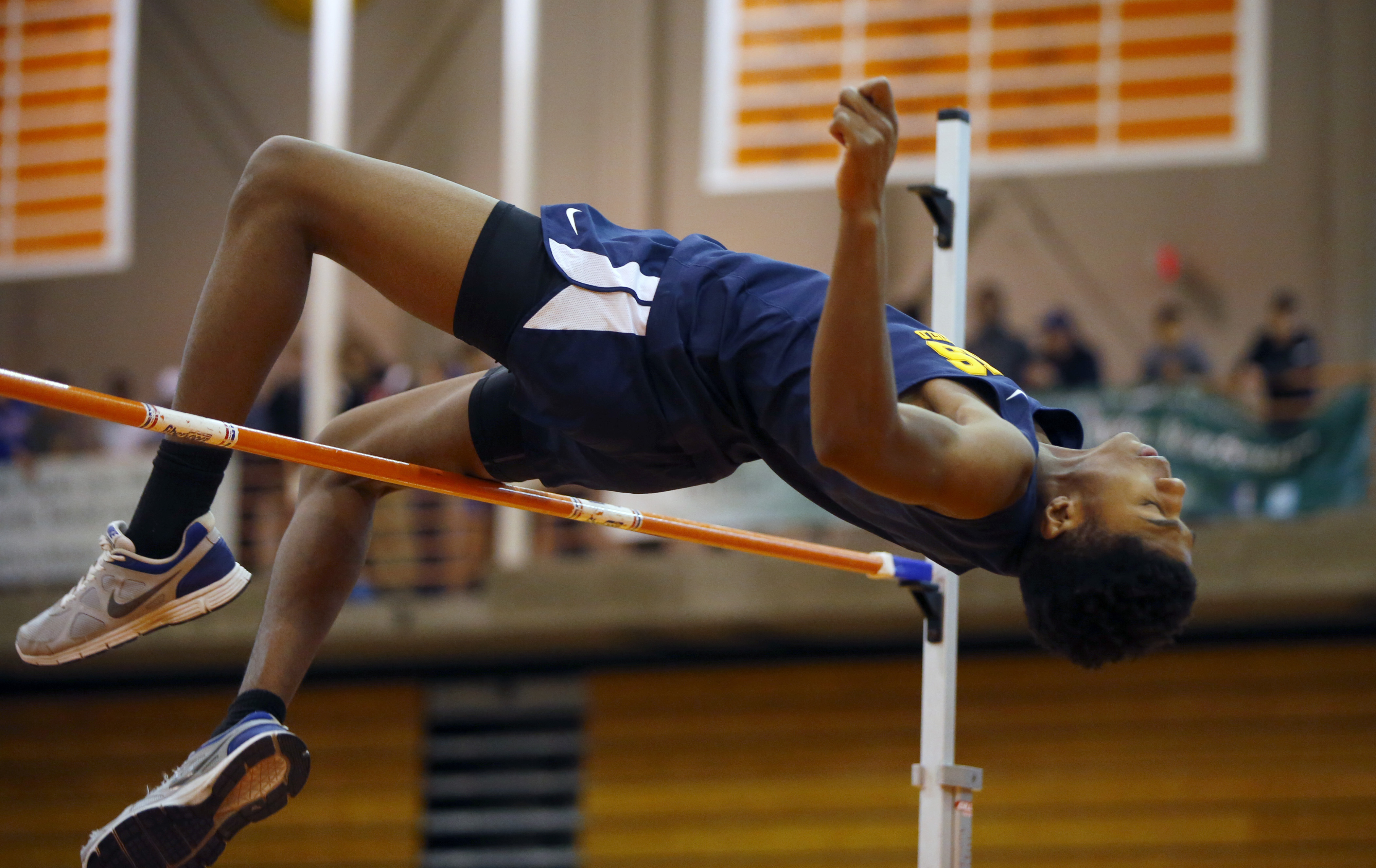 Tariq Taulof Niagara Falls is the returning Section VI indoor champion in the high jump.  (Harry Scull Jr./Buffalo News)