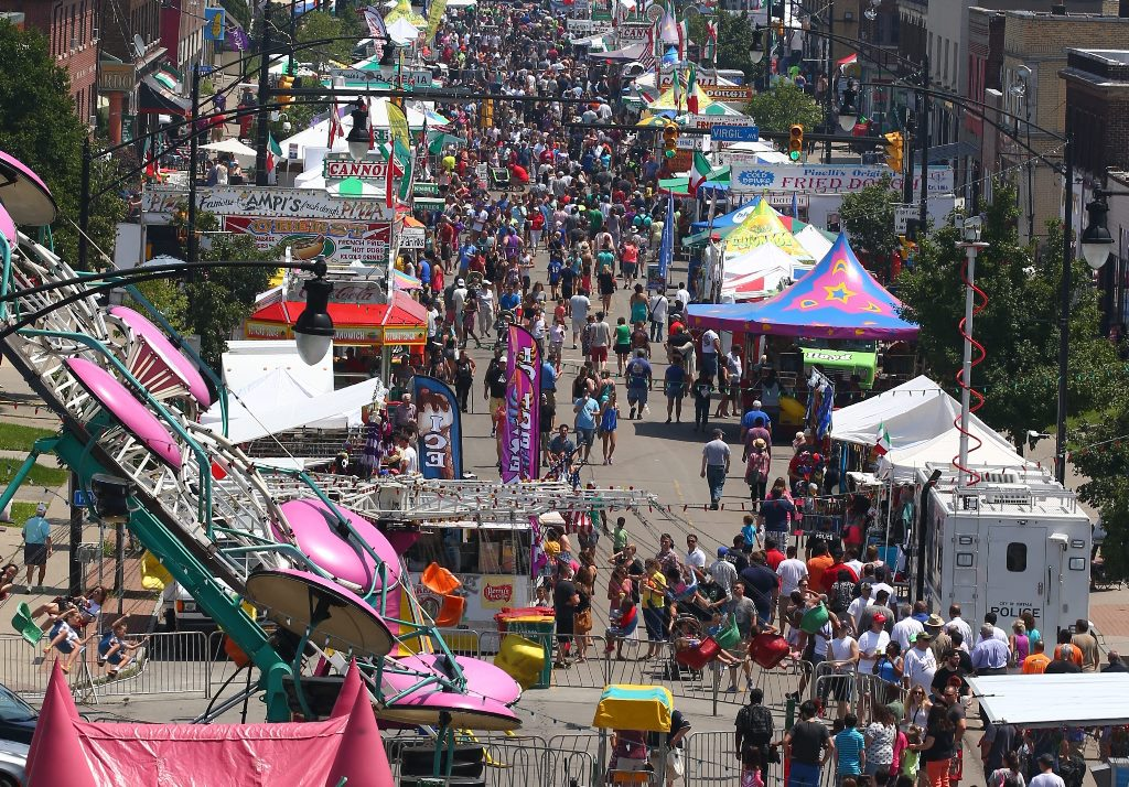 An overview of the large crowd on Hertel Avenue for the Italian Heritage Festival, which will be moving to the Outer Harbor next summer. (John Hickey/Buffalo News)