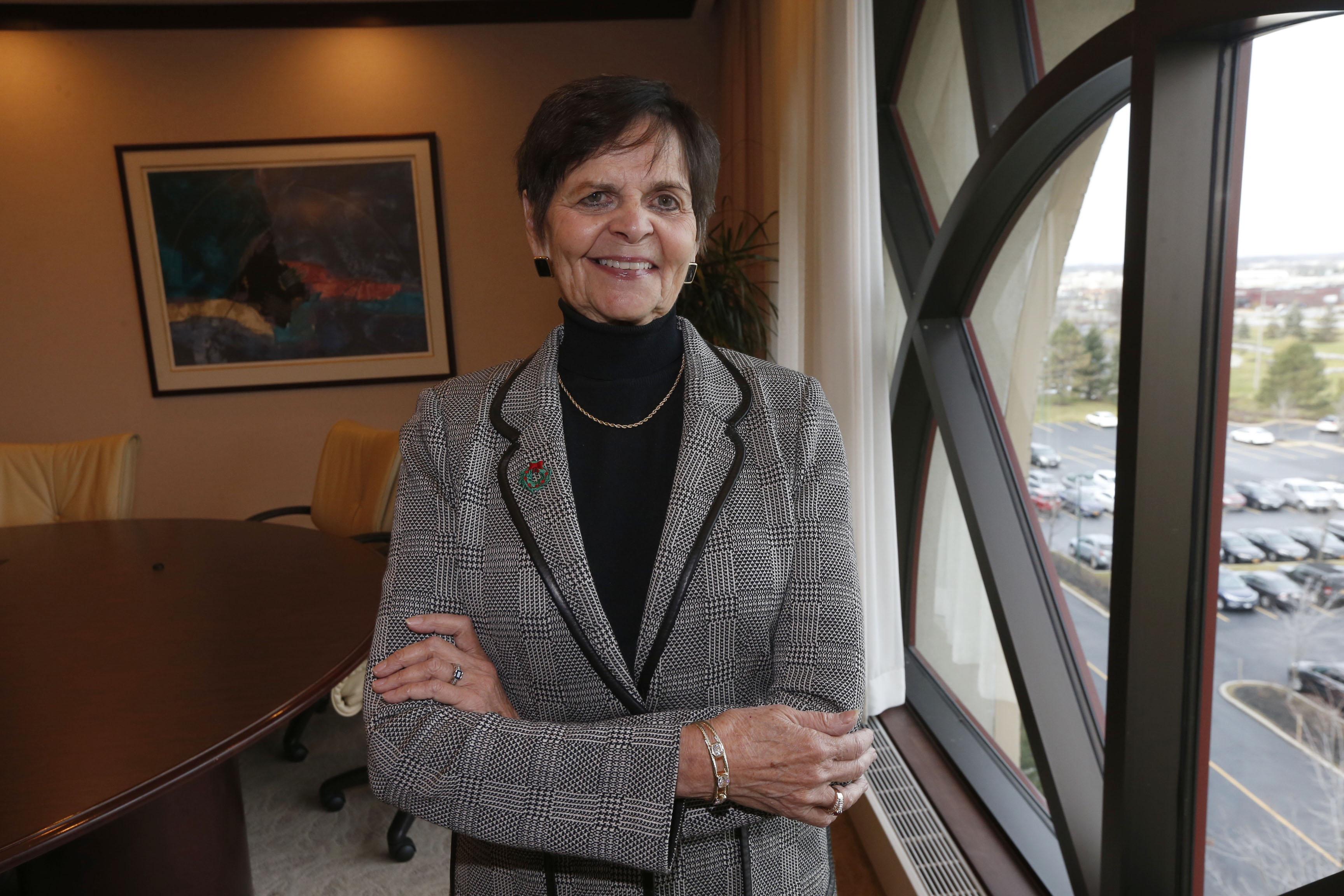 Nancy Dobson, retiring co-founder of Uniland at her Amherst office onTuesday, Dec. 6, 2016.  (Robert Kirkham/Buffalo News)