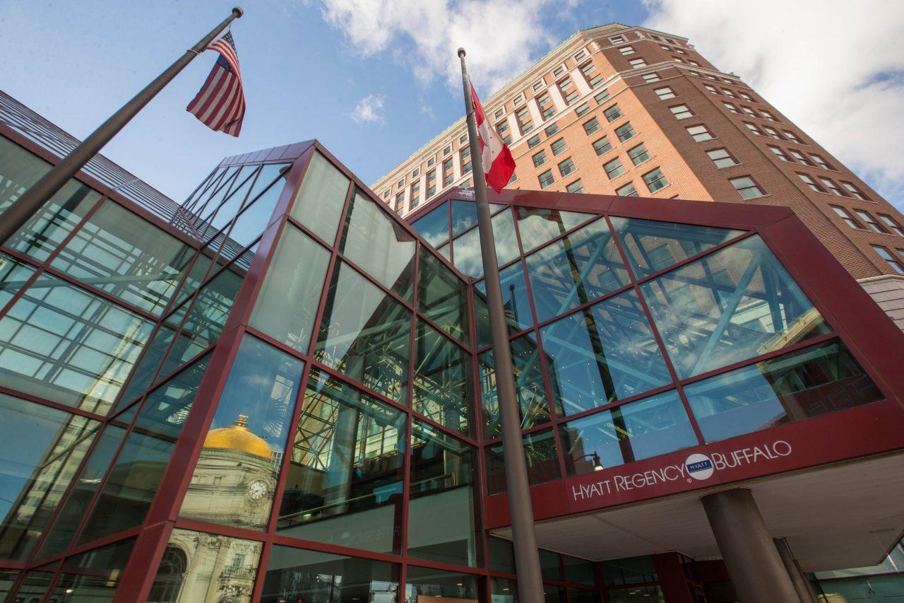 The glass atrium on the Main Street side of the Hyatt Regency Buffalo.  (Derek Gee/Buffalo News)