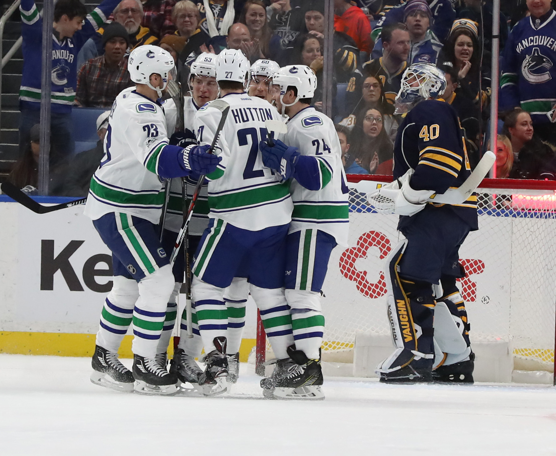 Buffalo Sabres goalie Robin Lehner (40) gives up the first goal to Vancouver earlier this month.  (James P. McCoy/Buffalo News)