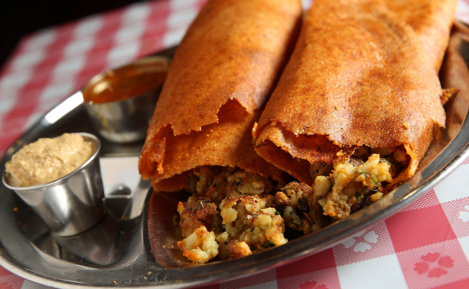 Chennai Express' Gunpowder Masala Dosa is one of Andrew Galarneau's featured spicy foods in his centerfold in The Buffalo News on Feb. 22, 2017. (Sharon Cantillon/Buffalo News)