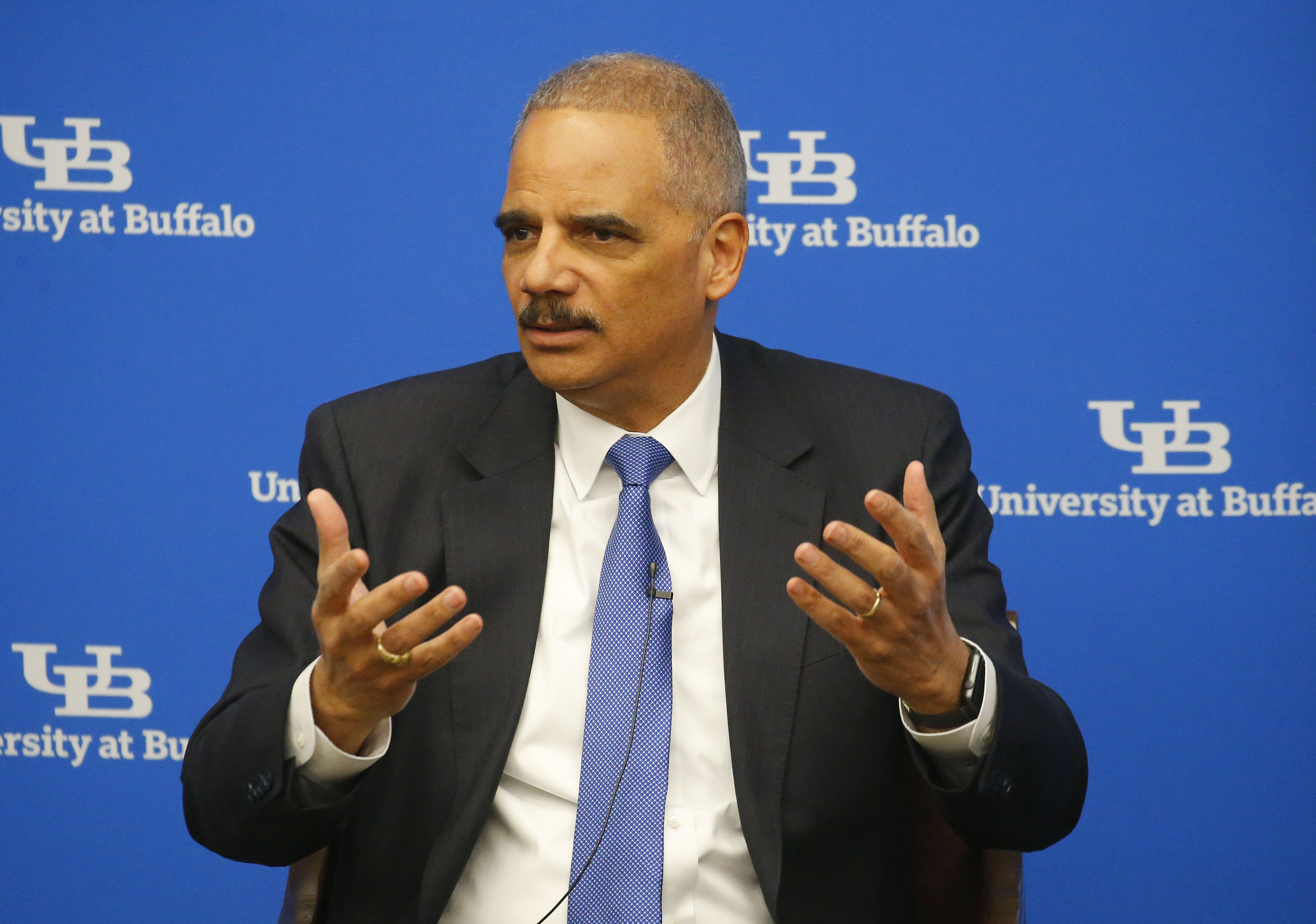 Former U.S. Attorney General Eric Holder speaks to UB Law students and faculty at the law school on the north campus Thursday, February 16, 2017.       (Mark Mulville/Buffalo News)