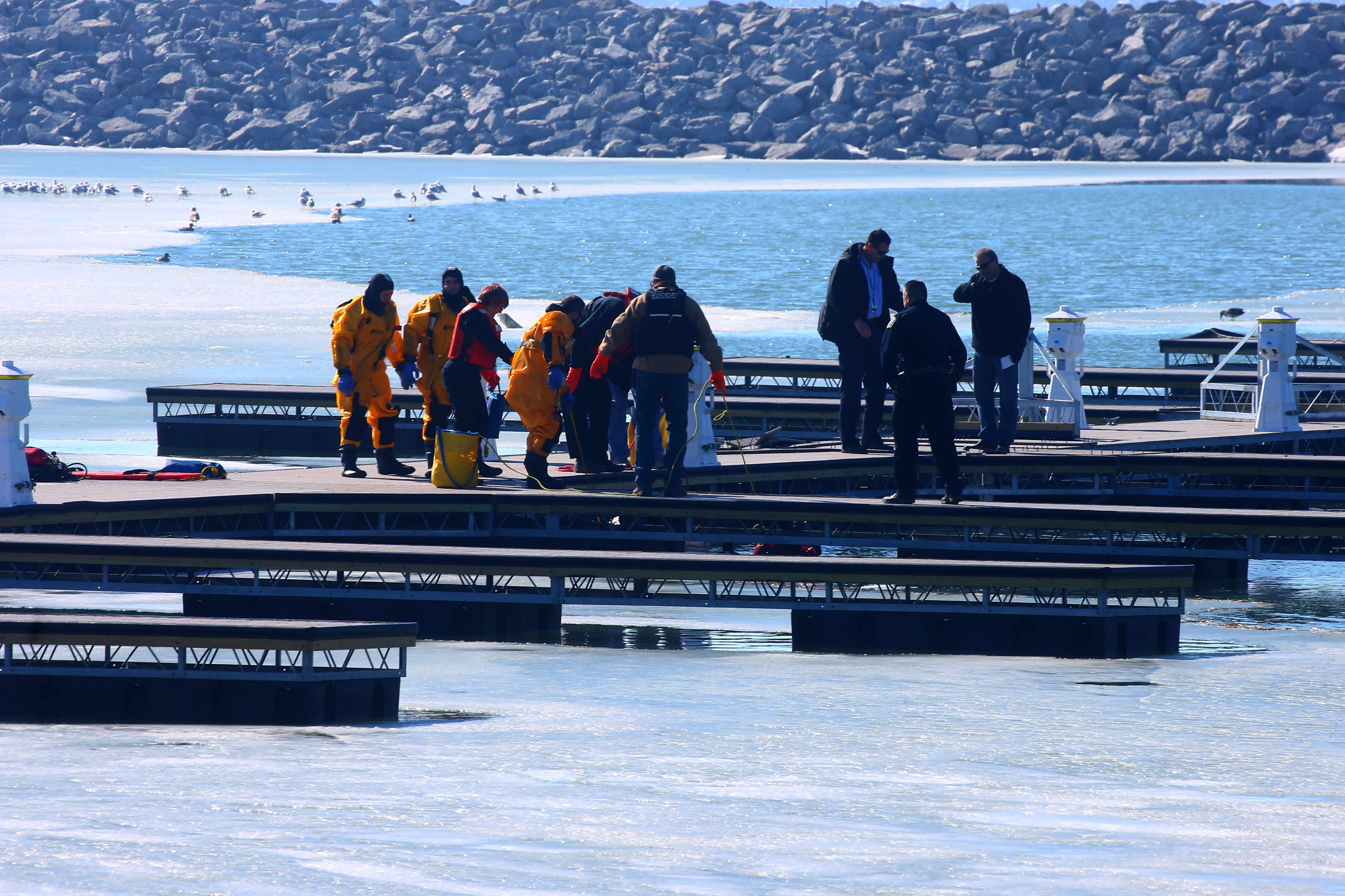 Buffalo Police Underwater Recovery Team and Buffalo firefighters on the scene at Buffalo Harbor State Park where a body was recovered from the water in Buffalo on  Sunday, Feb. 19, 2017. (John Hickey/Buffalo News)