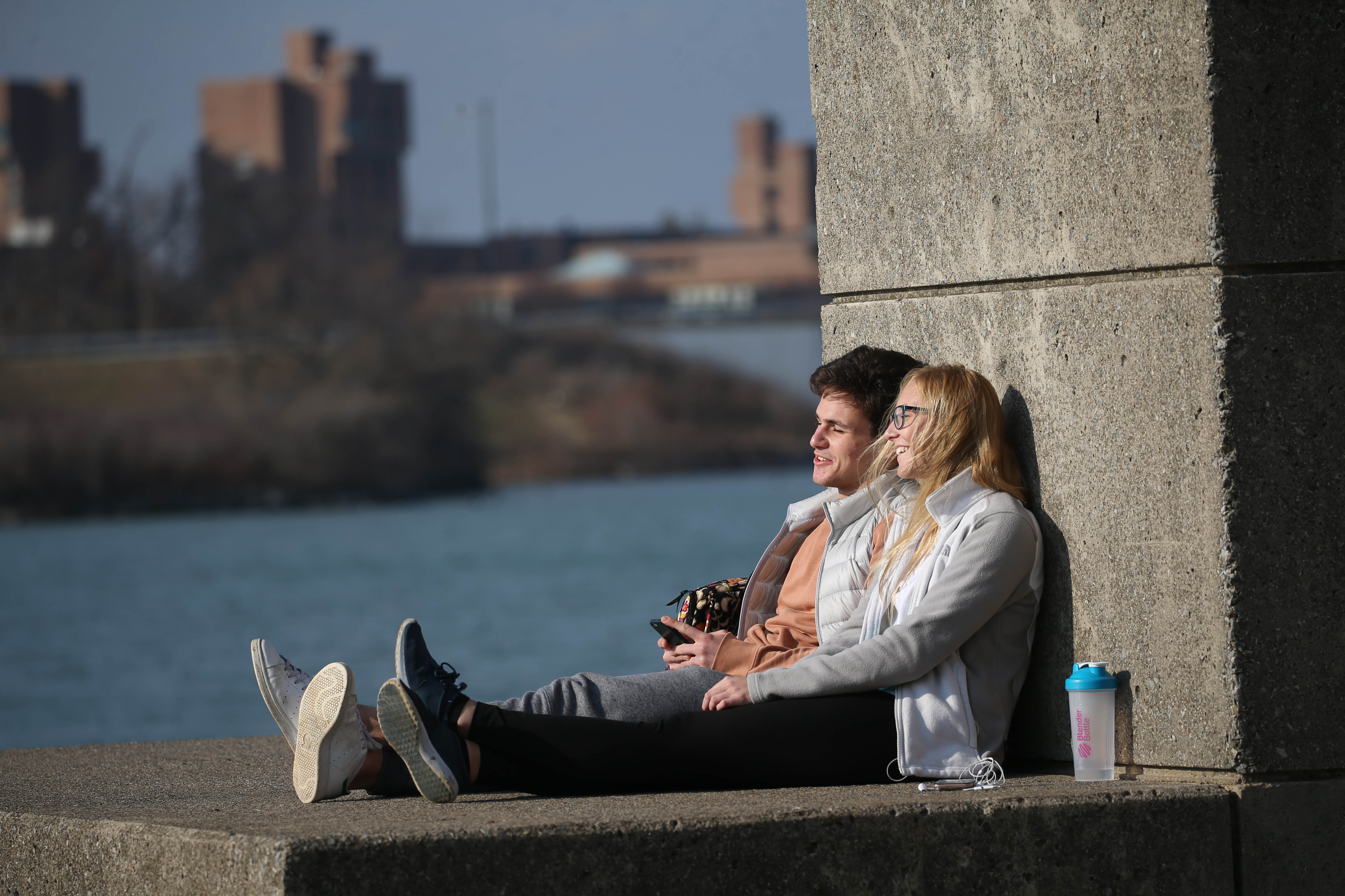 A 71-degree record-breaking day on Thursday got people outside soaking in the sun and warmth, including U.B. students Kemal Atayurt and Nicole Hill at Baird Point on the North Campus. It was only one of three February days in Buffalo's history when the temperature reached at least 70 degrees and tied the warmest February day ever. (Sharon Cantillon/Buffalo News)