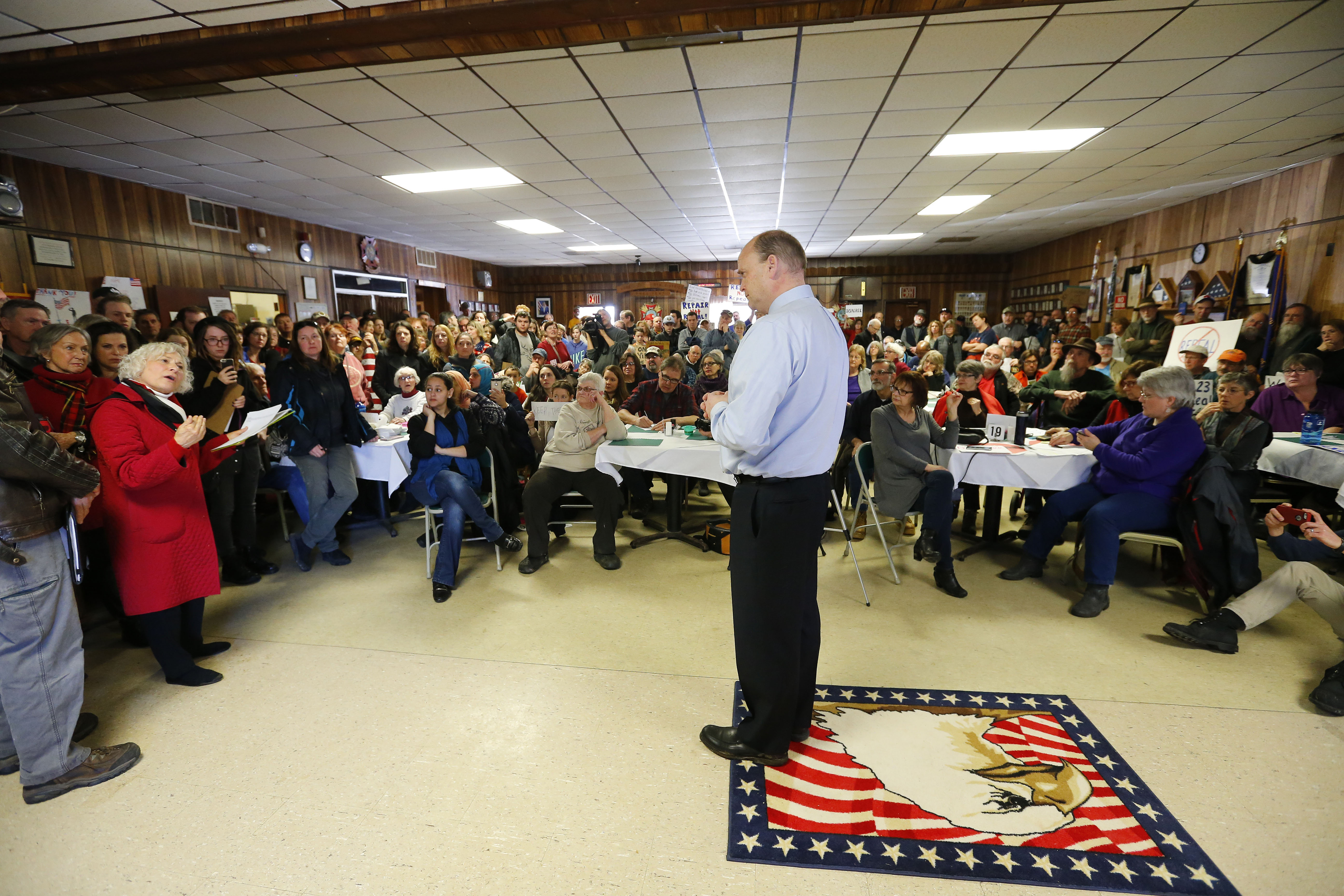 Rep. Tom Reed, R-Corning, speaks to a packed crowd at the Pine Valley VFW Post 2522 in Cherry Creek on Feb. 18, 2017. (Mark Mulville/News file photo)