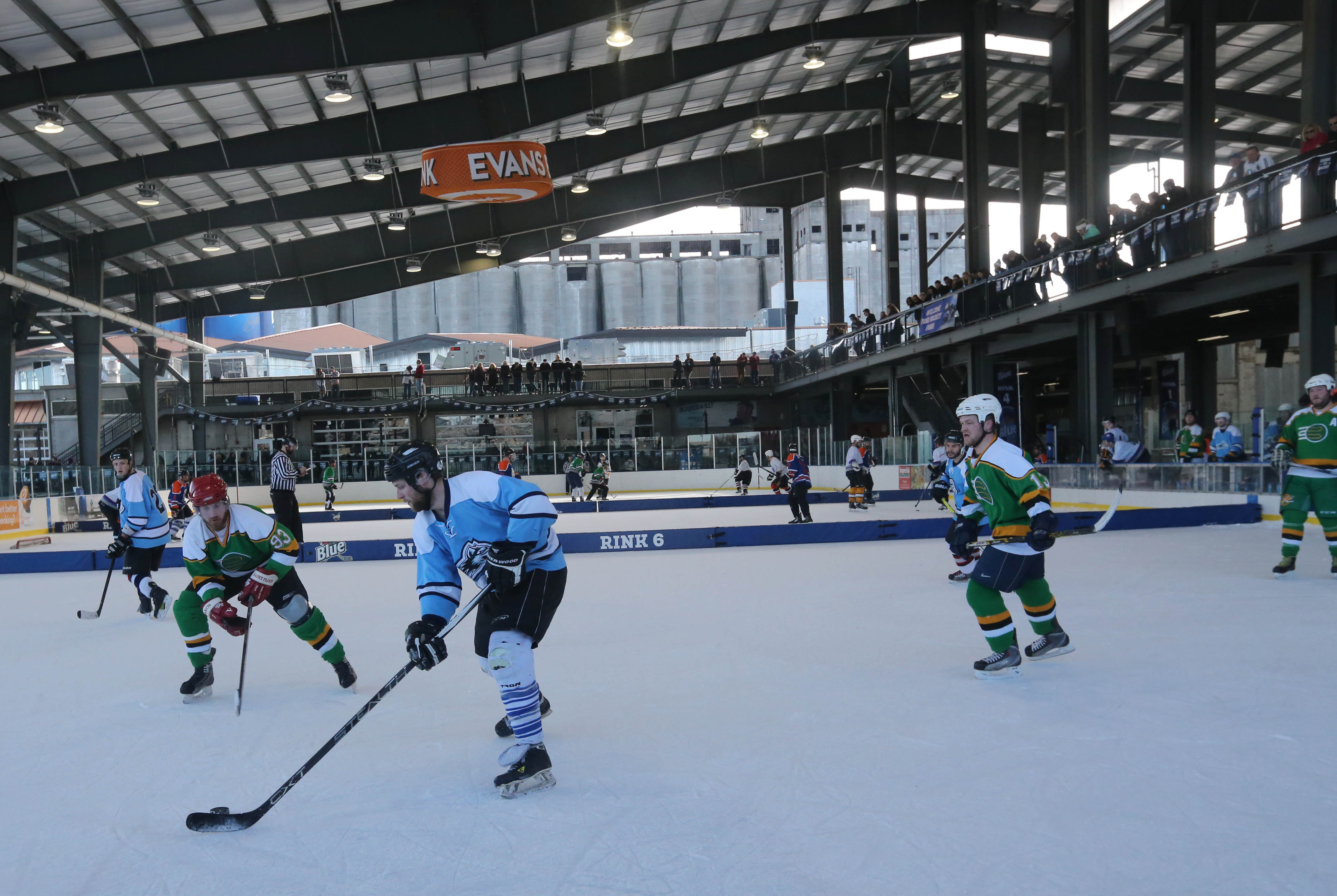 The team Ice Wolves-Rudz competes against the team We Like Turtles in the Labatt Blue Pond Hockey Tournament at Buffalo RiverWorks Saturday, Feb. 18, 2017.  (Derek Gee/Buffalo News)