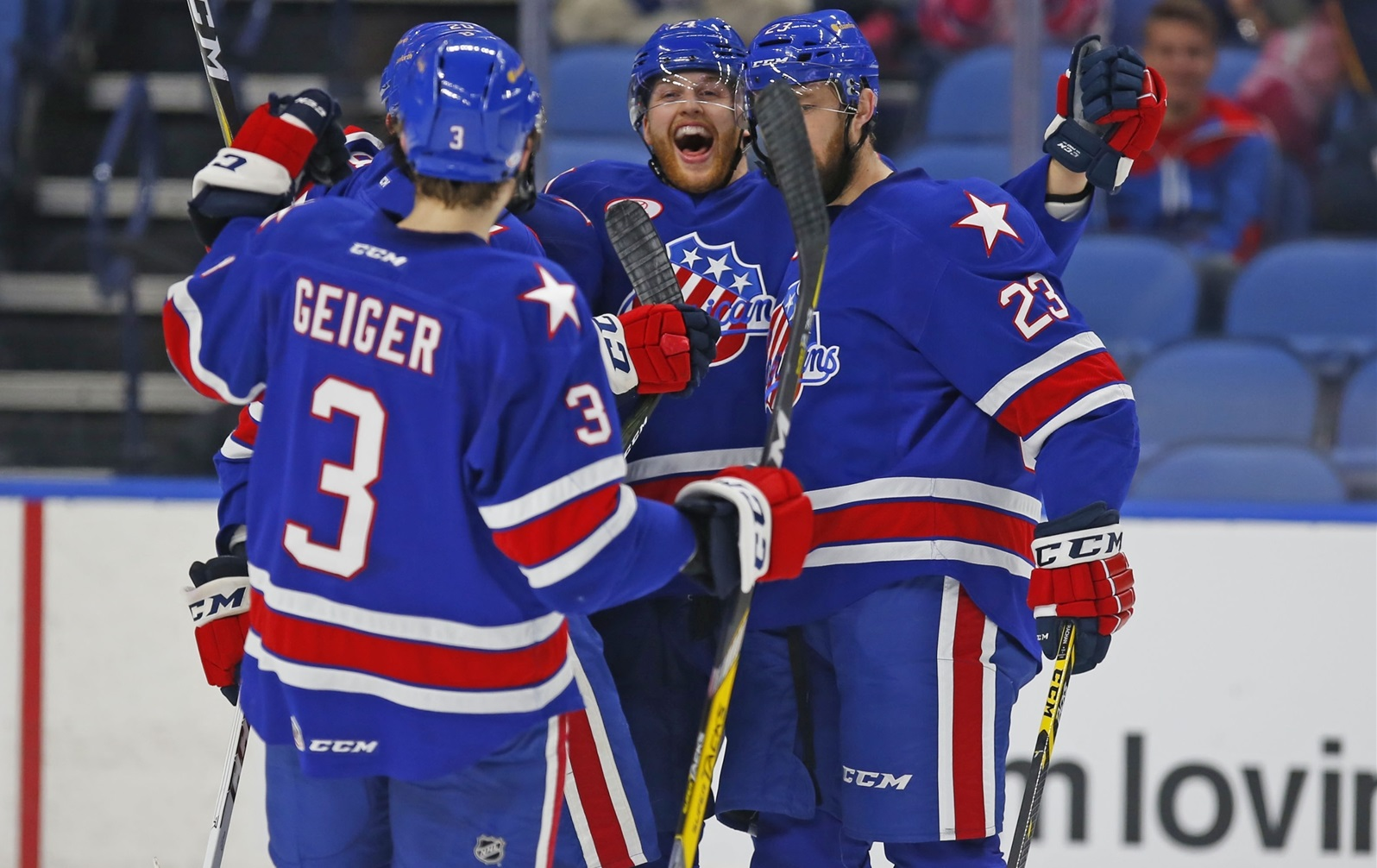 Hudson Fasching, middle, is among the young players ready to make a mark with the Rochester Americans. (Harry Scull Jr./Buffalo News)