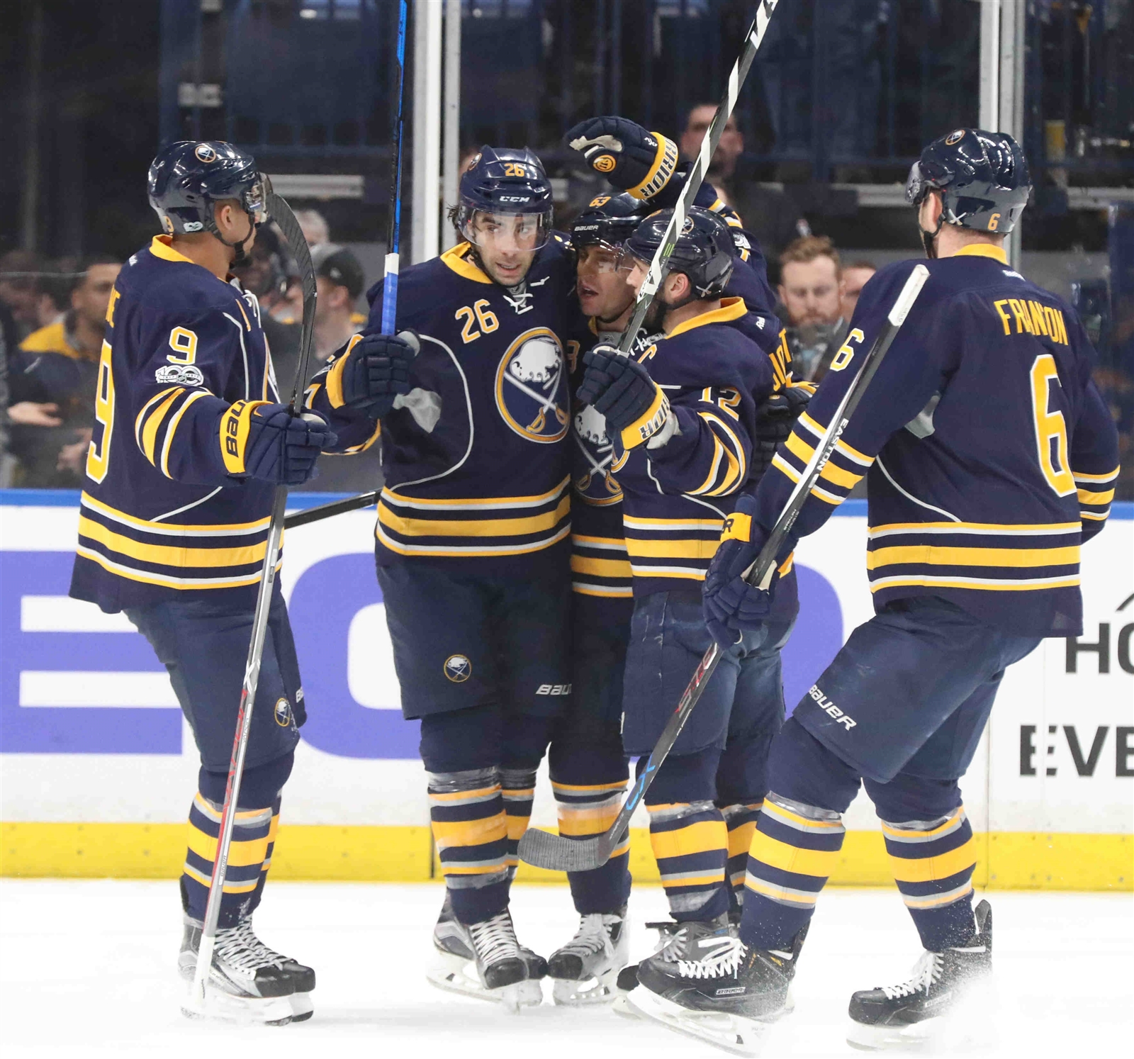 The Sabres had much to celebrate Tuesday night. (James P. McCoy/Buffalo News)