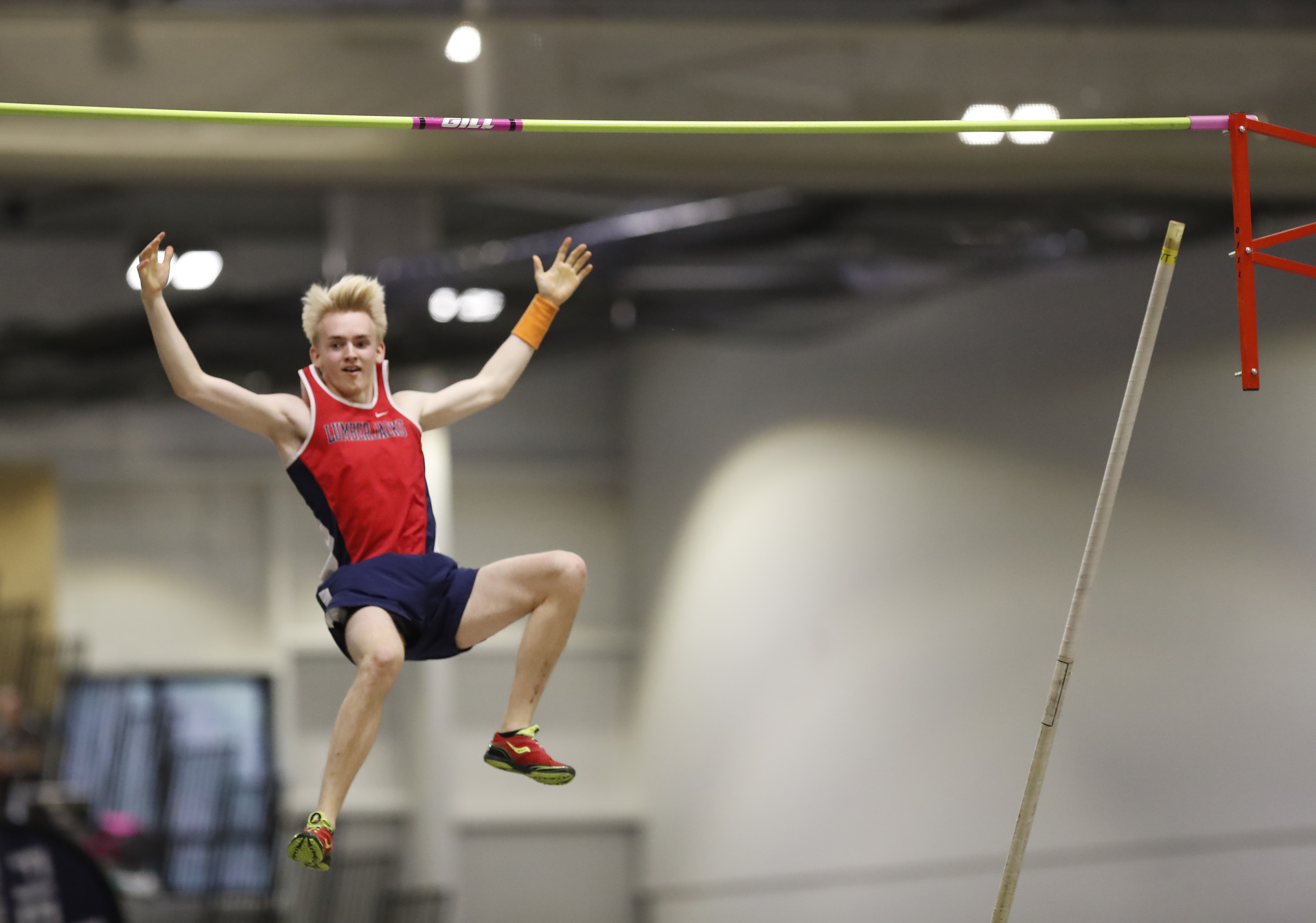 North Tonawanda's Anton Kunnas won the pole vault title at the Section VI track and field championships at Houghton College on Feb. 25. (Harry Scull Jr./Buffalo News)
