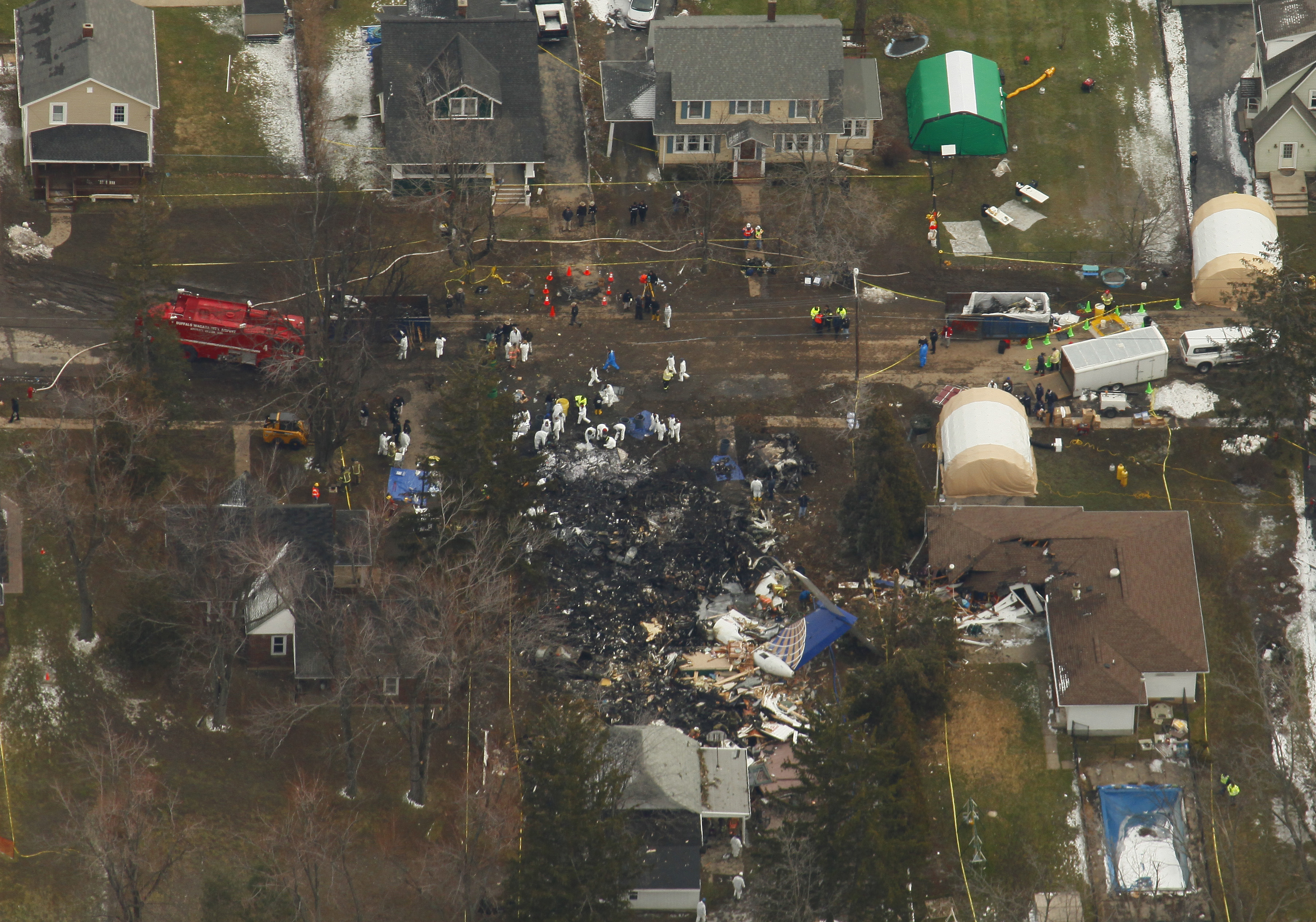 Aerial view of the site where Continental Flight 3407 crashed into a home on Long Street in Clarence. Photo taken Feb. 13, 2009, by Derek Gee/Buffalo News