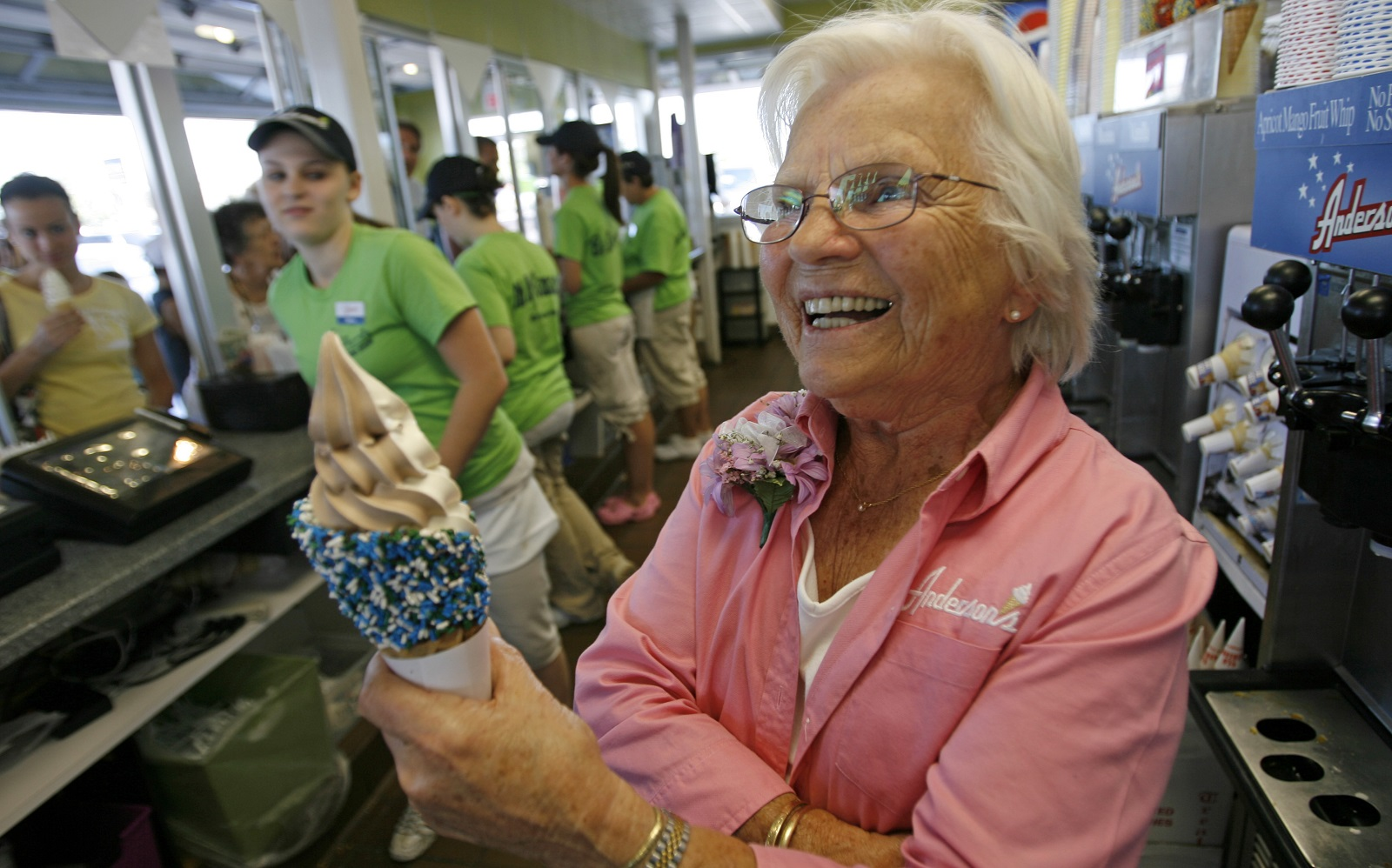 Greta Anderson, who founded the famed custard and roast beef chain that bears her name, takes time from celebrating her 90th birthday in 2008. On Thursday, Anderson will go on Facebook live to celebrate her 99th birthday. (Derek Gee/Buffalo News file photo)