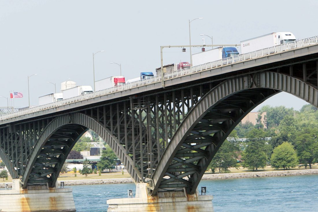 Tractor trailers line up on the Peace Bridge. (News file photo)