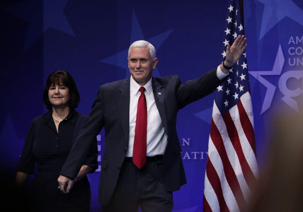 Vice President Mike Pence waves as he walks on stage with his wife Karen Pence during the Conservative Political Action Conference at the Gaylord National Resort and Convention Center February 23, 2017 in National Harbor, Maryland. (Getty Images)
