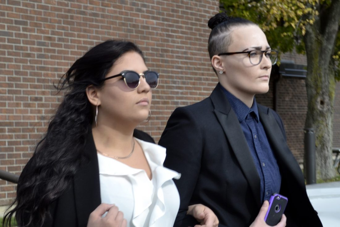 Carly Marrs, on left, was arraigned in Wheatfield Town Court on Oct. 26, 2016. She was fined $243 for a traffic infraction on Wednesday. (Photo by Larry Kensinger)