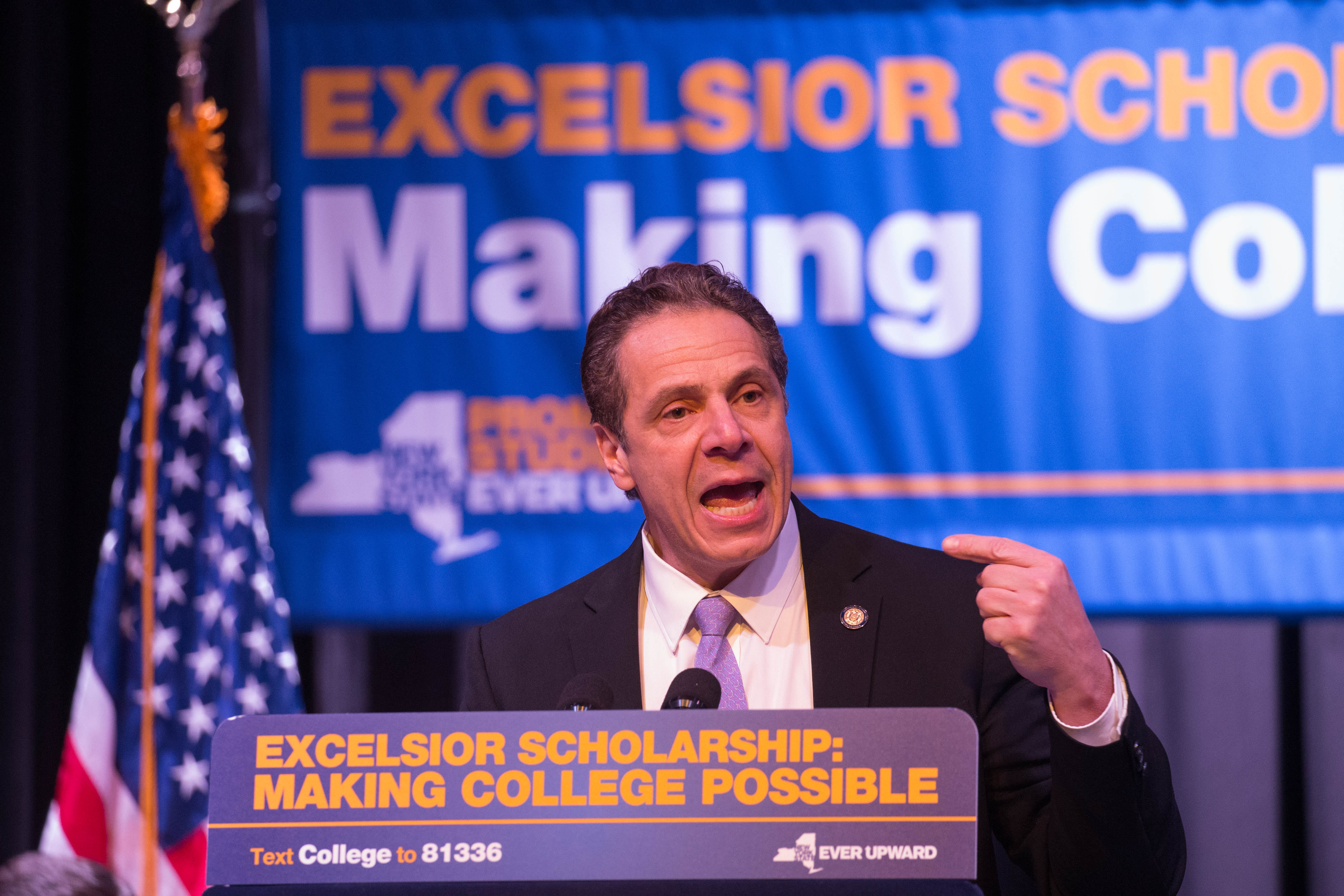 New York Gov. Andrew  M.Cuomo speaks during a rally for the Excelsior Scholarship, his plan for free tuition at public universities, at the Buffalo State College student union, Tuesday, Feb. 7, 2017.  (Derek Gee/Buffalo News)