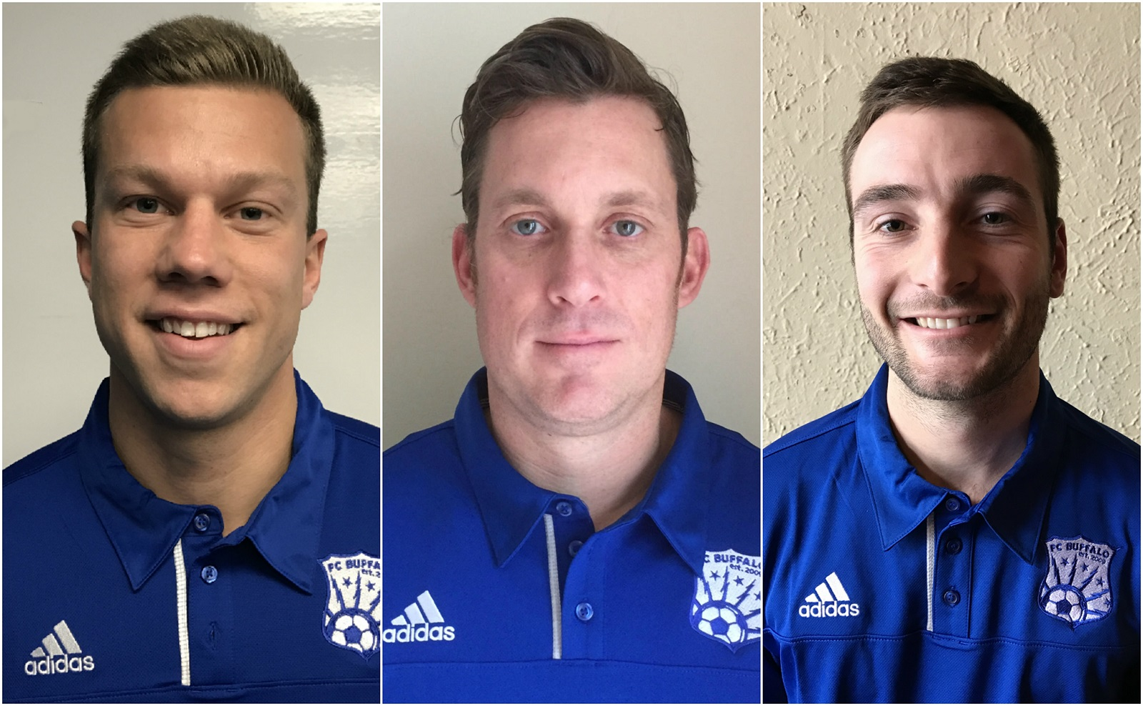 Frank Butcher, middle, is FC Buffalo's new head coach. Casey Derkacz, left, and John Grabowski, right, are his assistants. (via FC Buffalo)